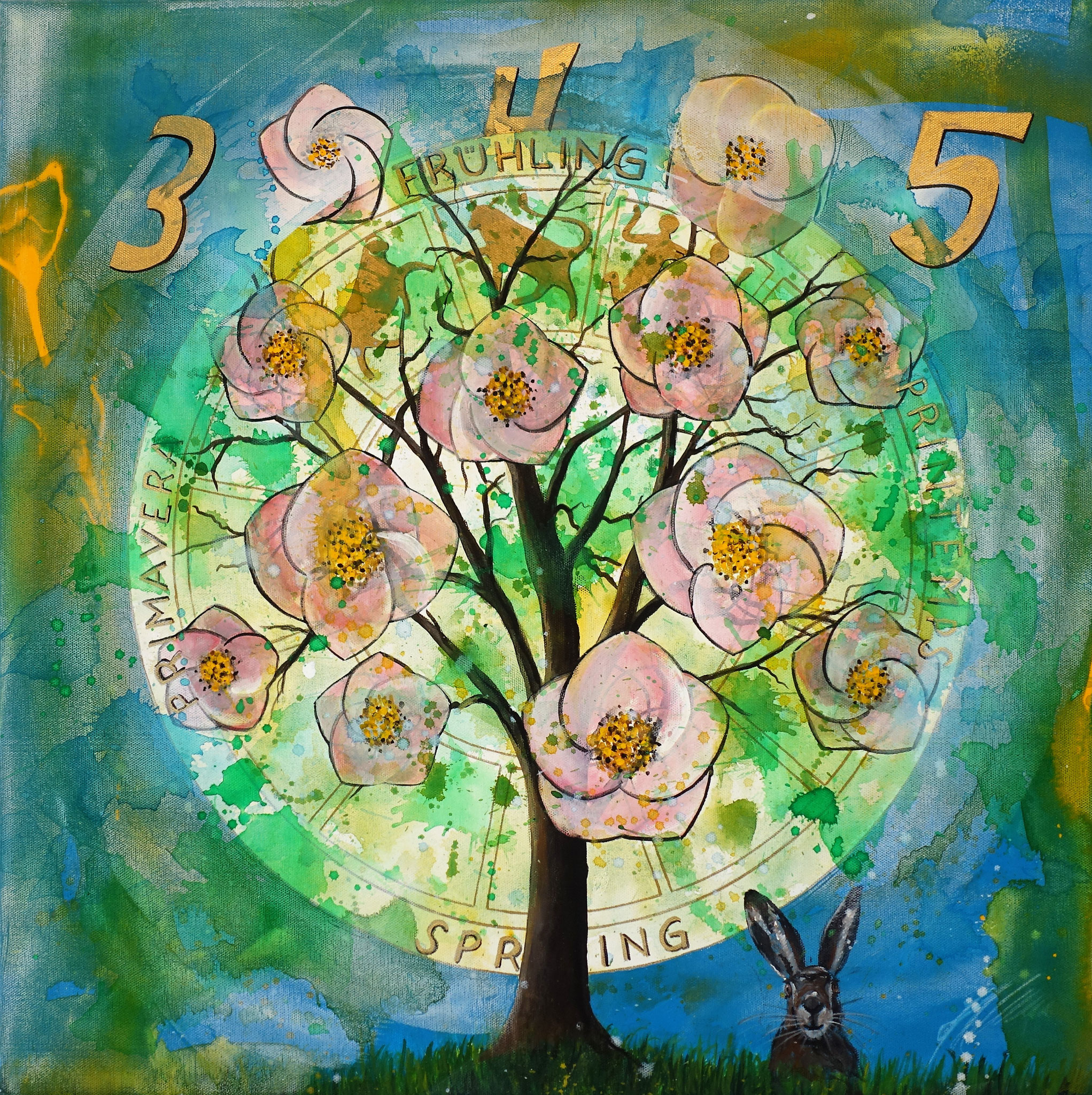 """Frühling bei 5 Jahreszeiten"" Acryl auf Leinwand 60 x 60 cm."