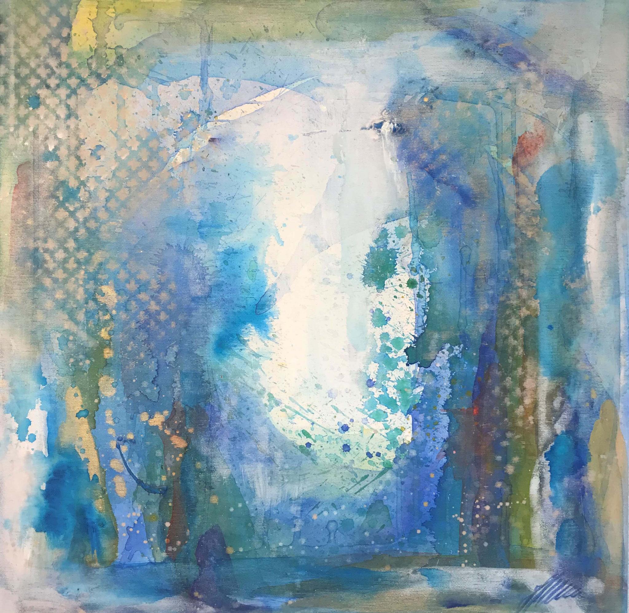 """Fr. 450.00 """"Blau 2"""" Acryl auf Leinwand 50 x 50 cm."""