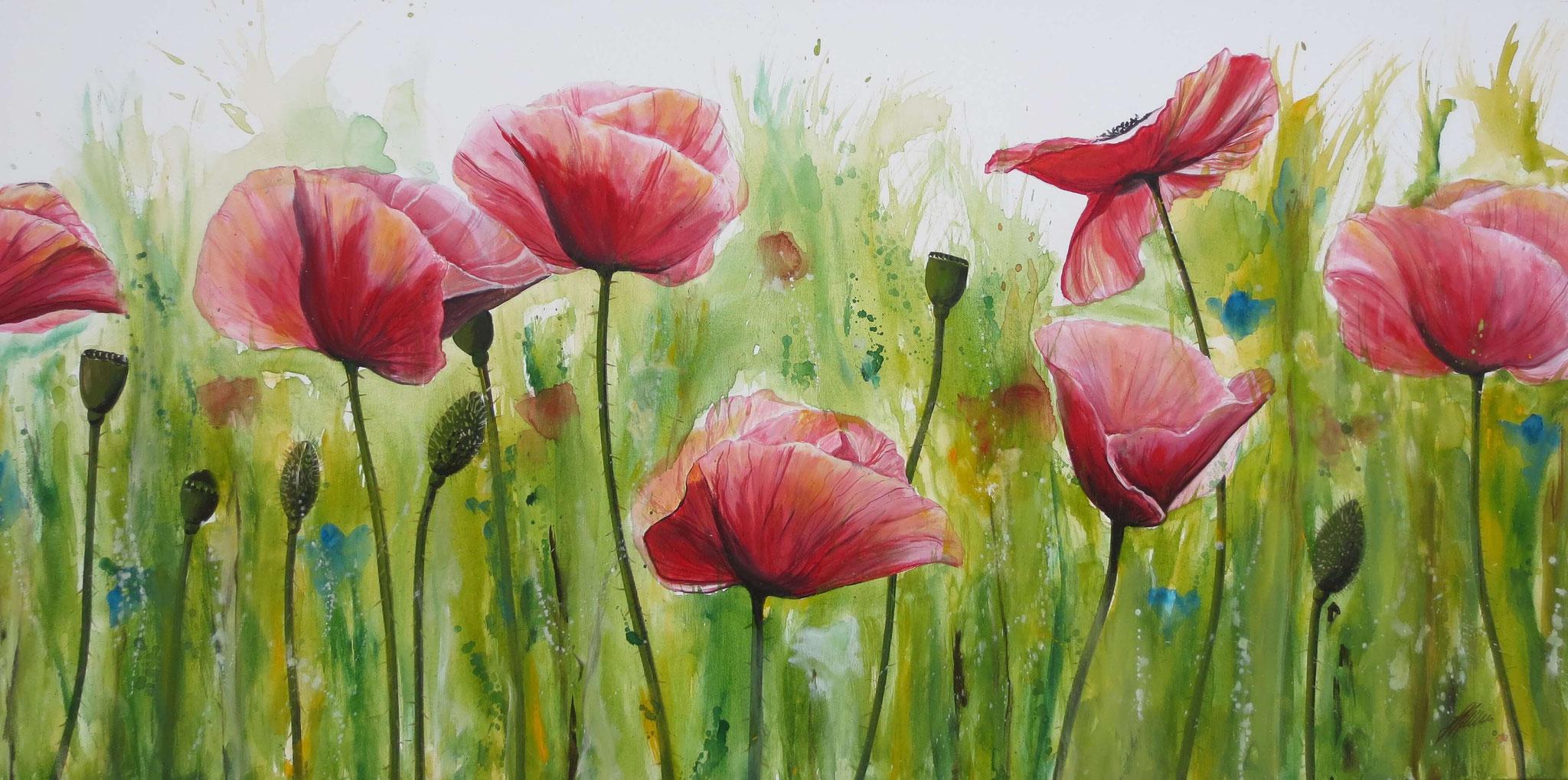 """Mohnblumen"" Acryl auf Leinwand 140 x 70 cm."