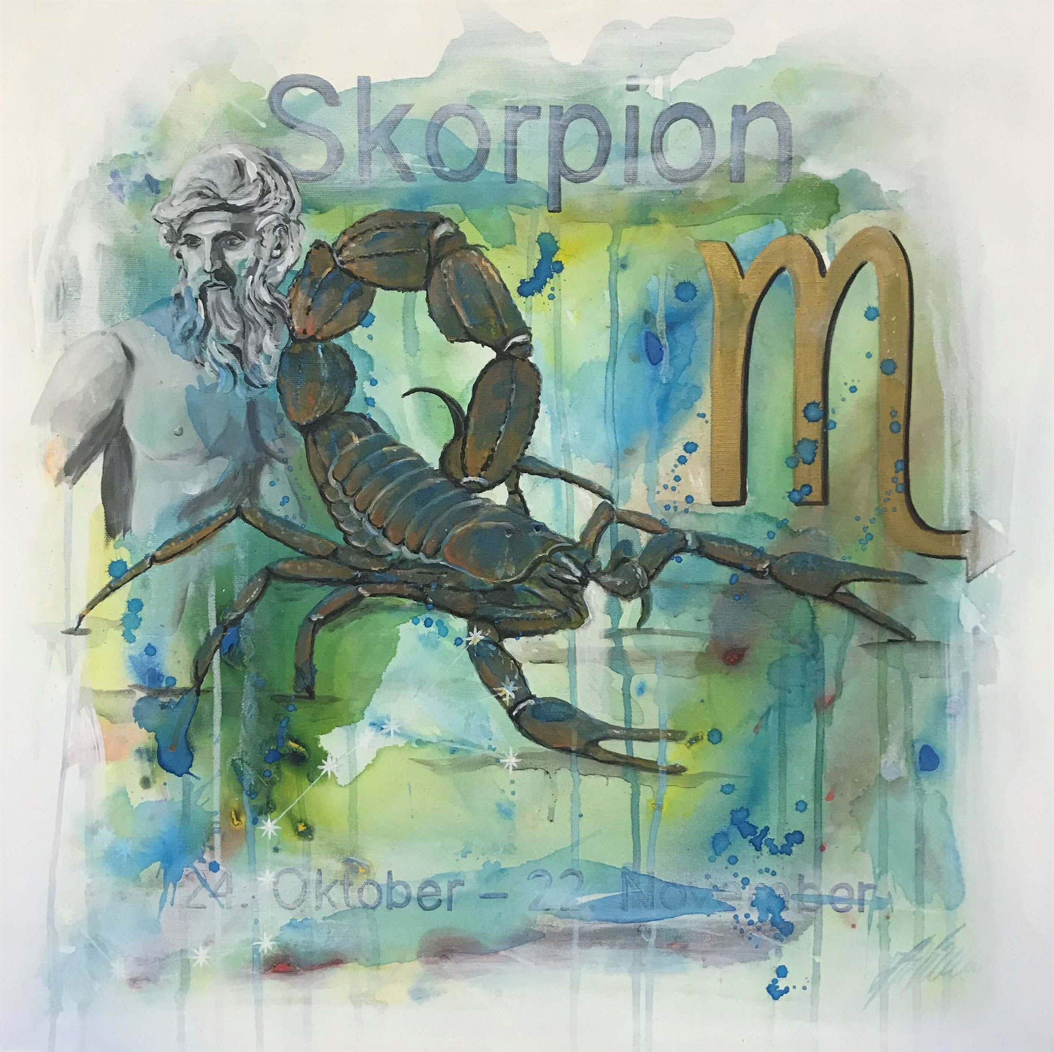 "Fr. 480.00 ""Skorpion, Serie antik"" Acryl auf Leinwand mit Rahmen 60 x 60 cm."