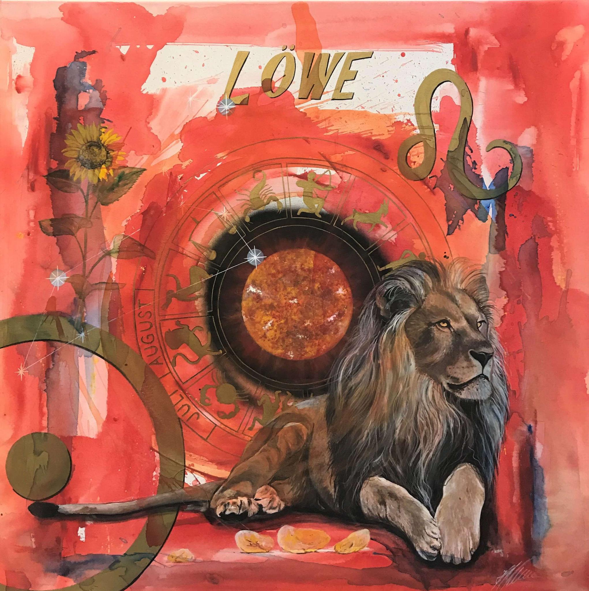 """Fr. 950.00 """"Löwe, Serie spirit"""" Acryl auf Leinwand 100 x 100 cm."""