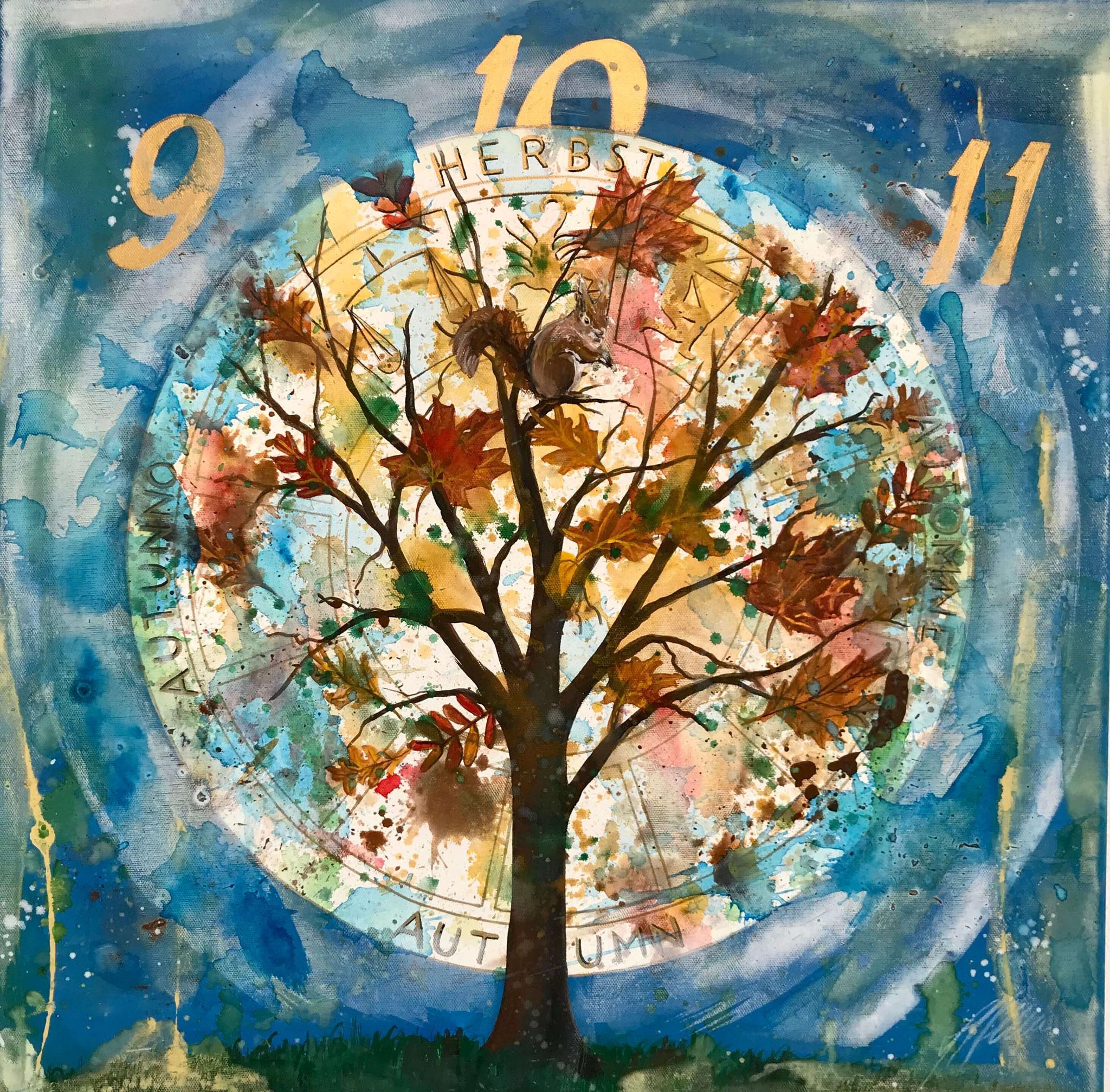 """Fr. 450.00 """"5 Jahreszeiten Herbst"""" Acryl auf Leinwand mit Rahmen 60 x 60 cm."""