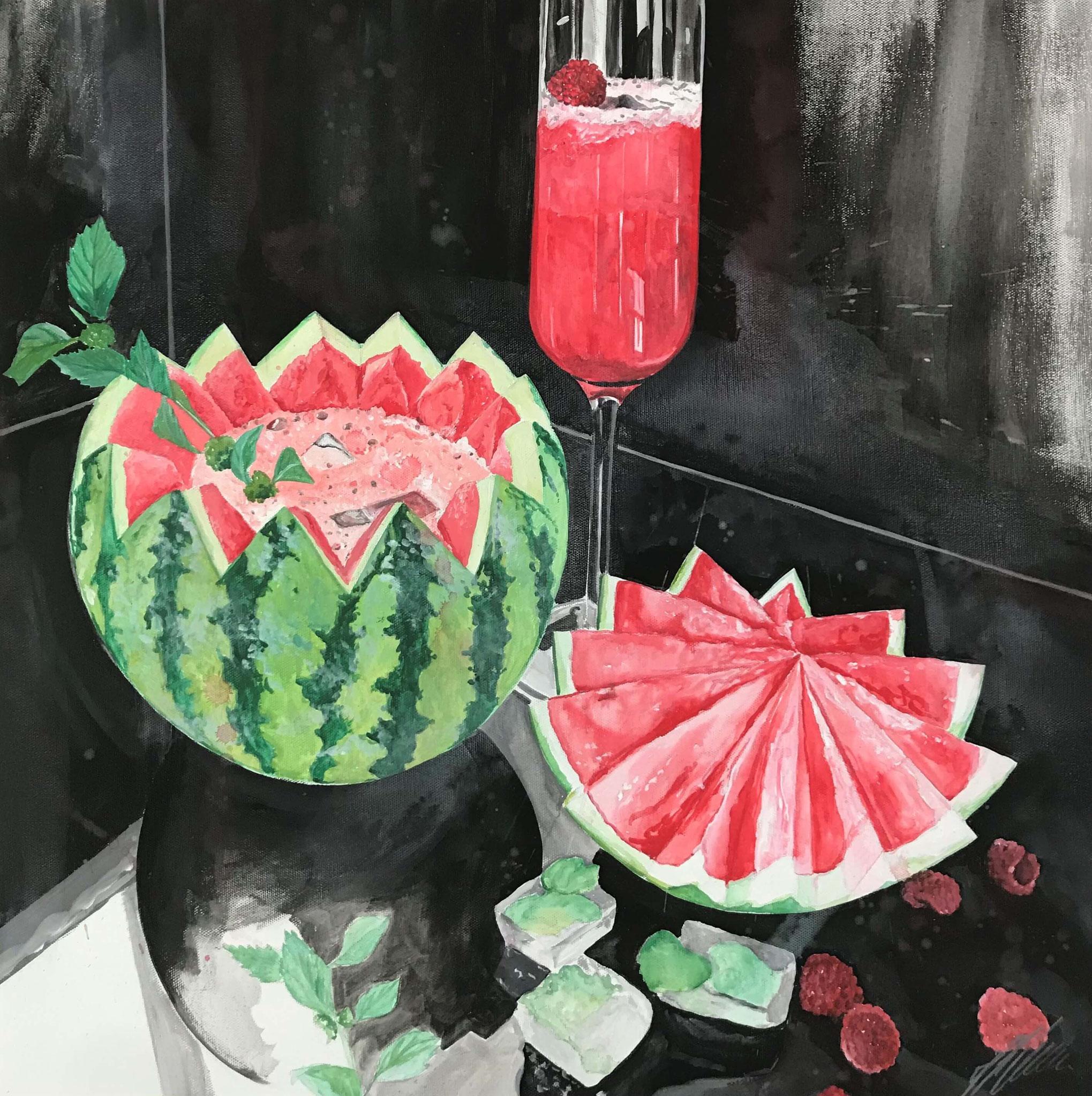 """Melonen Cocktail"" Acryl auf Leinwand 60 x 60 cm."