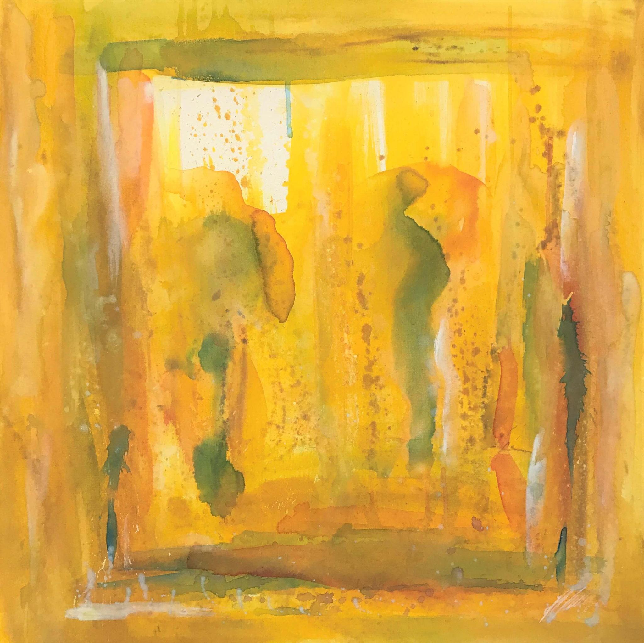 "Fr. 580.00 ""Zwilling, Serie abstract"" Acryl auf Leinwand mit Rahmen 80 x 80 cm."