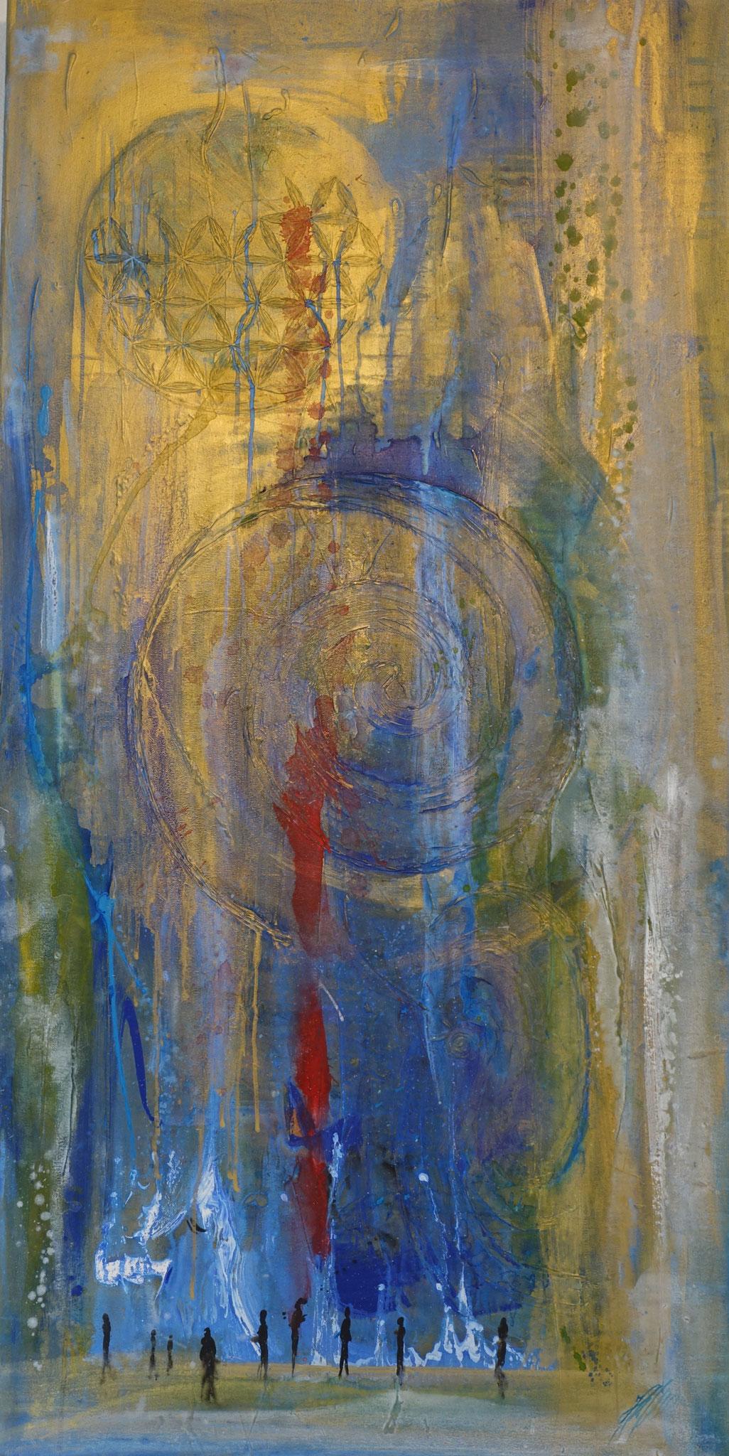"""""""Begegnungen"""" Acryl auf Leinwand 70 x 140 cm."""