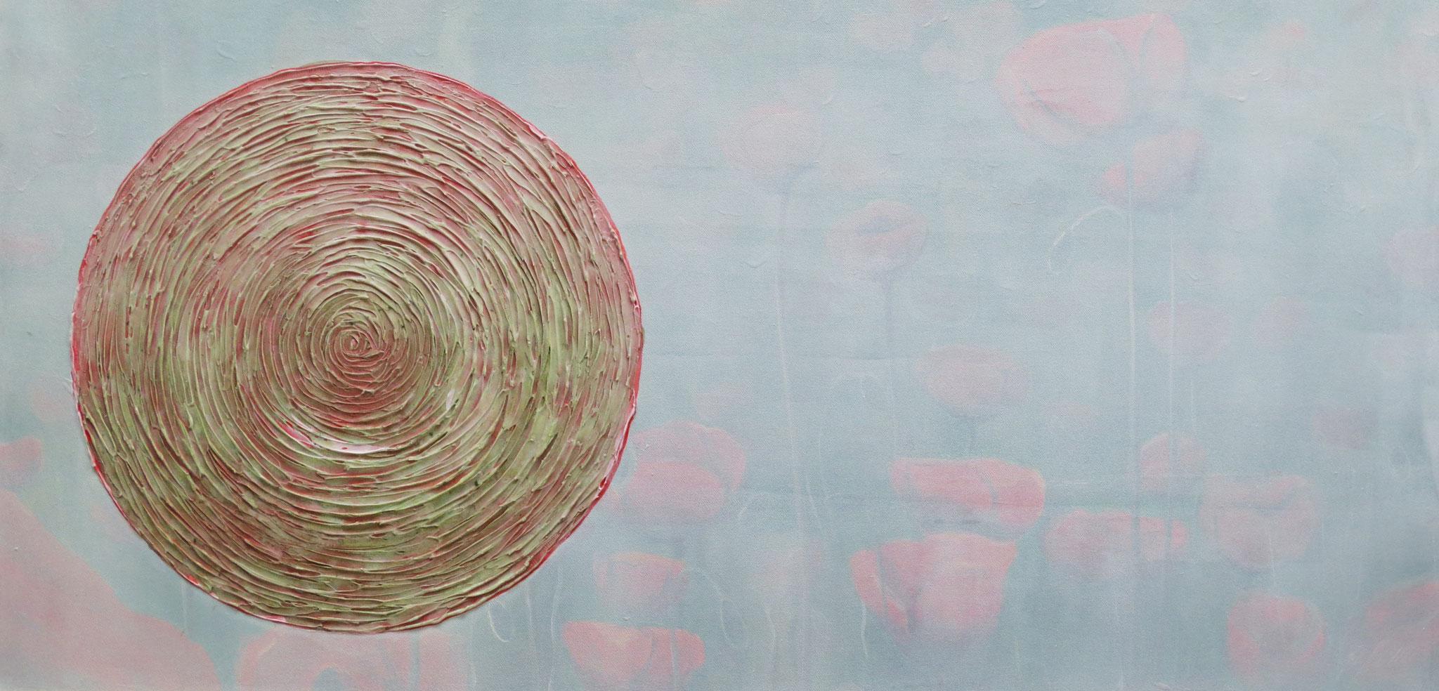 """Rund"" Acryl auf Leinwand 50 x 100 cm."