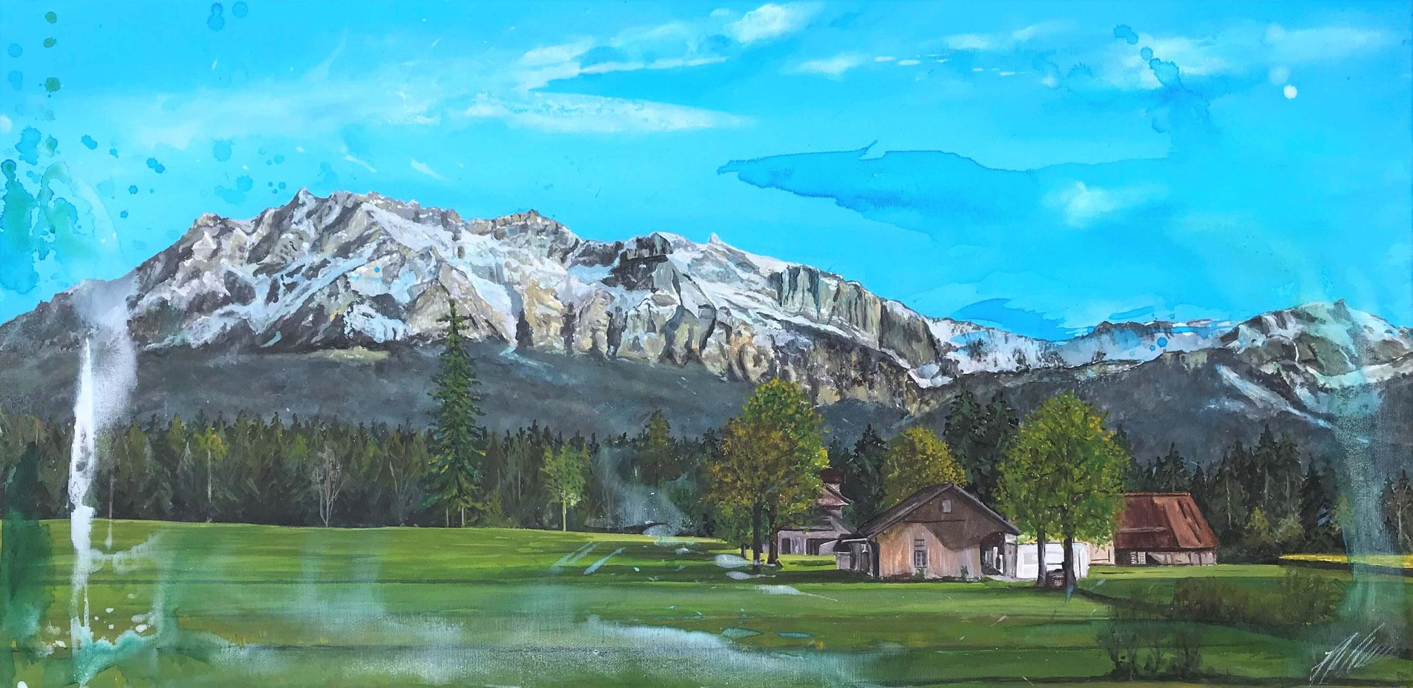 "Fr. 750.00 ""Rainer Landschaft"" Acryl auf Leinwand 140 x 70 cm."