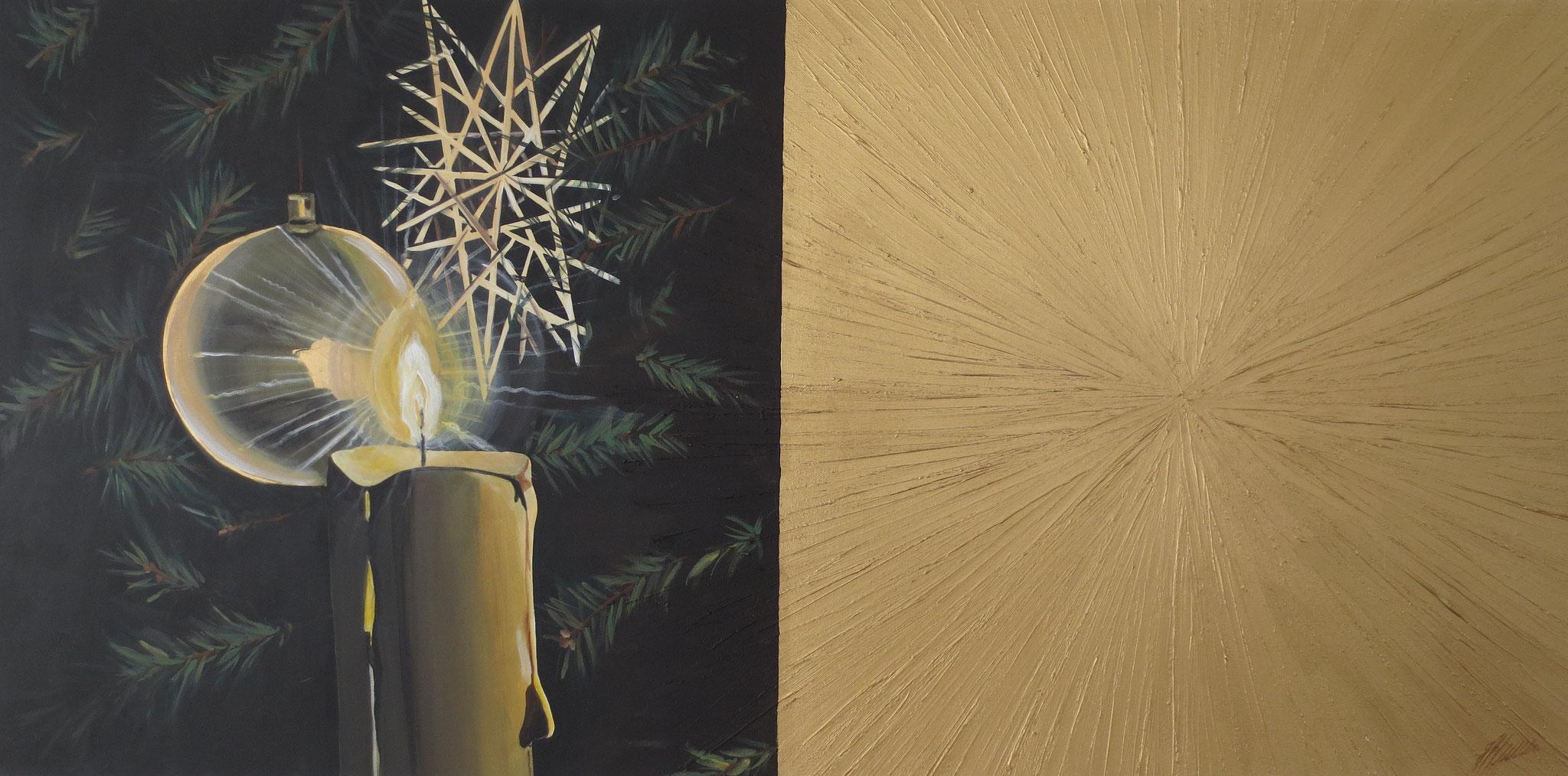 """Gold- Kerze"" Acryl auf Leinwand 70 x 140 cm."