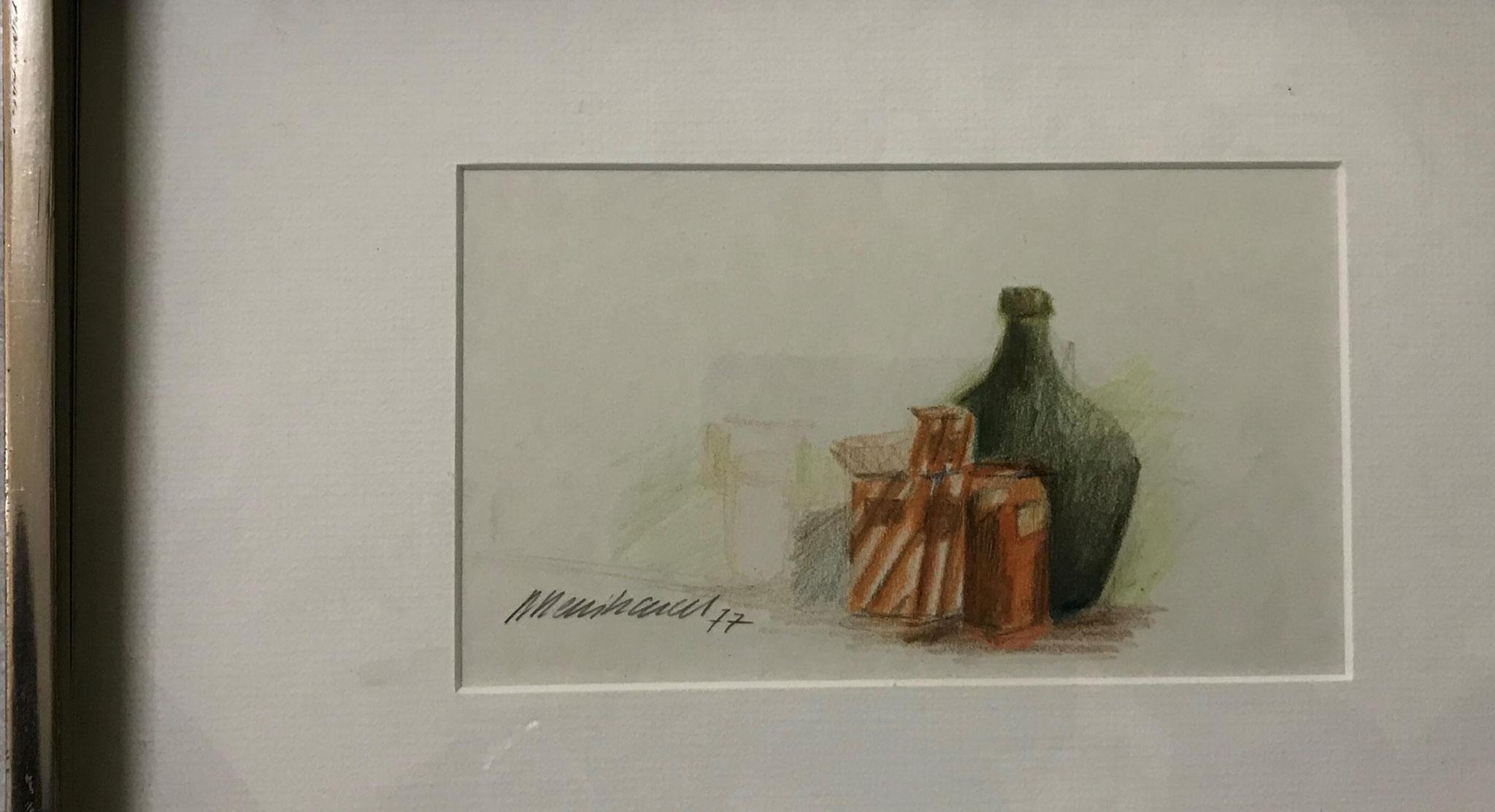 Fr. 300.00 R. Reinhard, Farbstifte auf Papier mit Rahmen 32 x 21 cm.