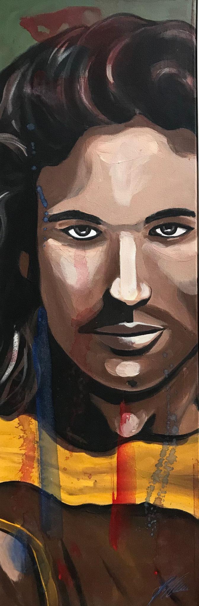 "Fr. 520.00 ""Portrait Mann"" Acryl auf Leinwand mit Rahmen 30 x 90 cm."