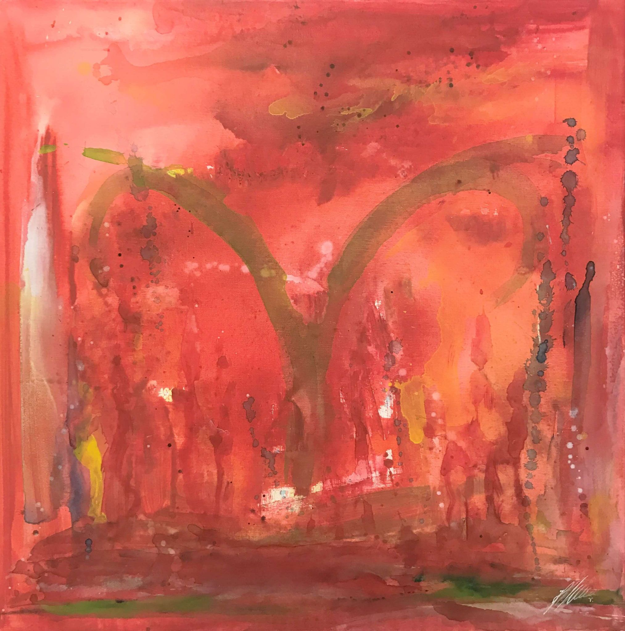 "Fr. 560.00 ""Widder, Serie abstract"" Acryl auf Leinwand mit Rahmen 80 x 80 cm."