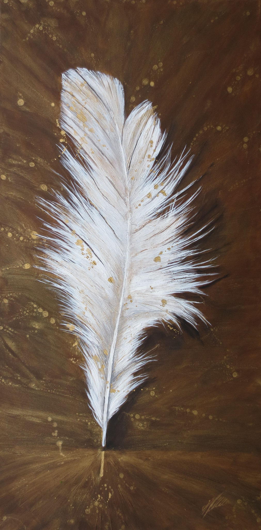 """""""Die Feder"""" Acryl auf Leinwand 50 x 100 cm."""