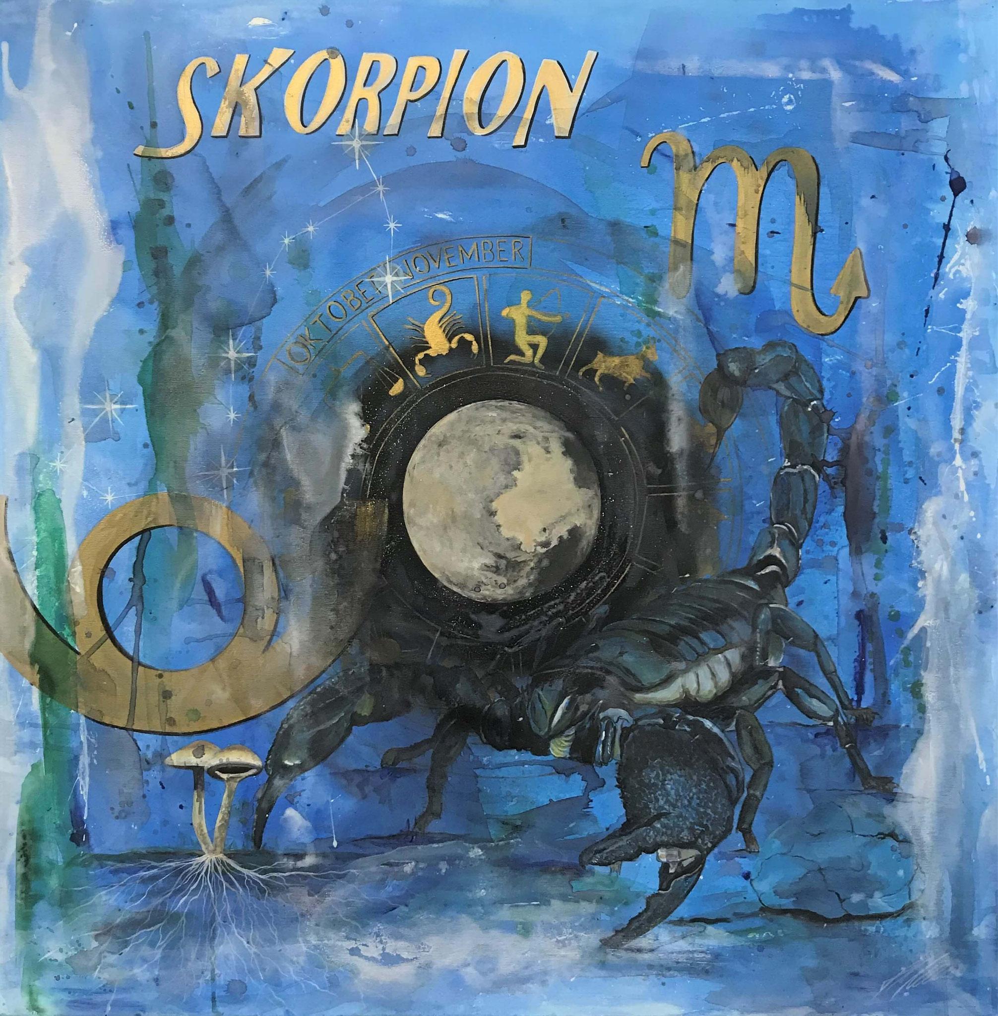"Fr. 950.00 ""Skorpion, Serie spirit"" Acryl auf Leinwand 100 x 100 cm."