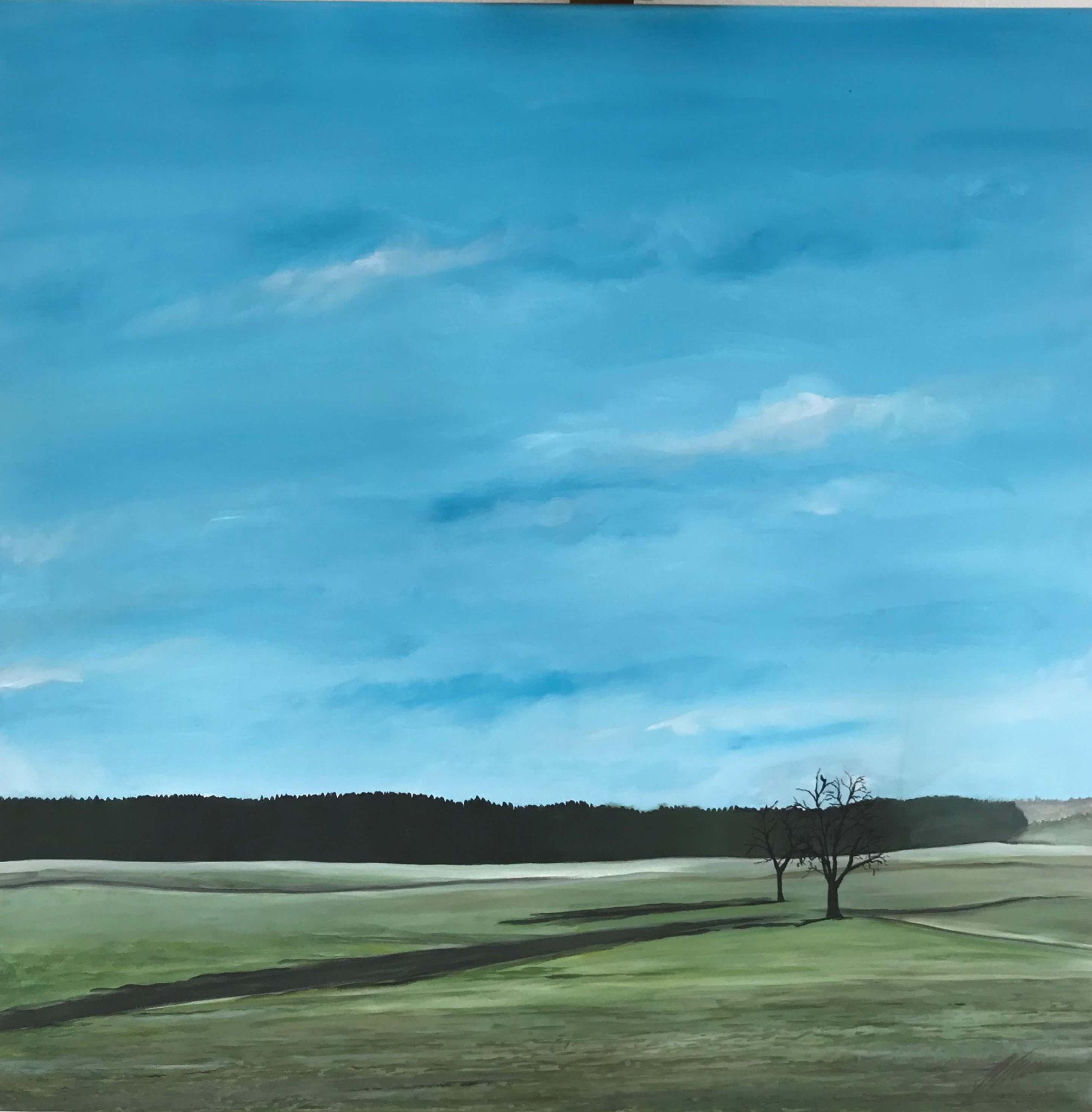 "Fr. 650.00 "" Winterlandschaft"" Acryl auf Leinwand 80 x 80 cm."