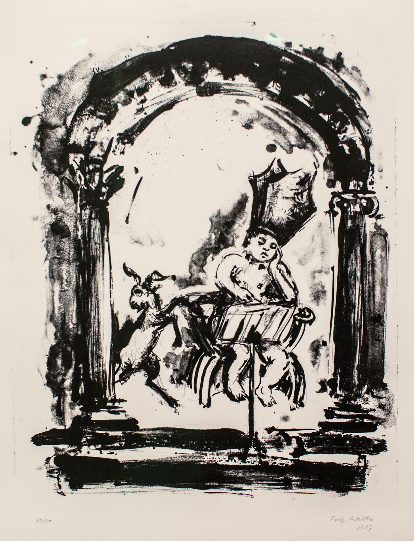 Die Lektüre, 1983, Lithographie, 48cm x 38cm