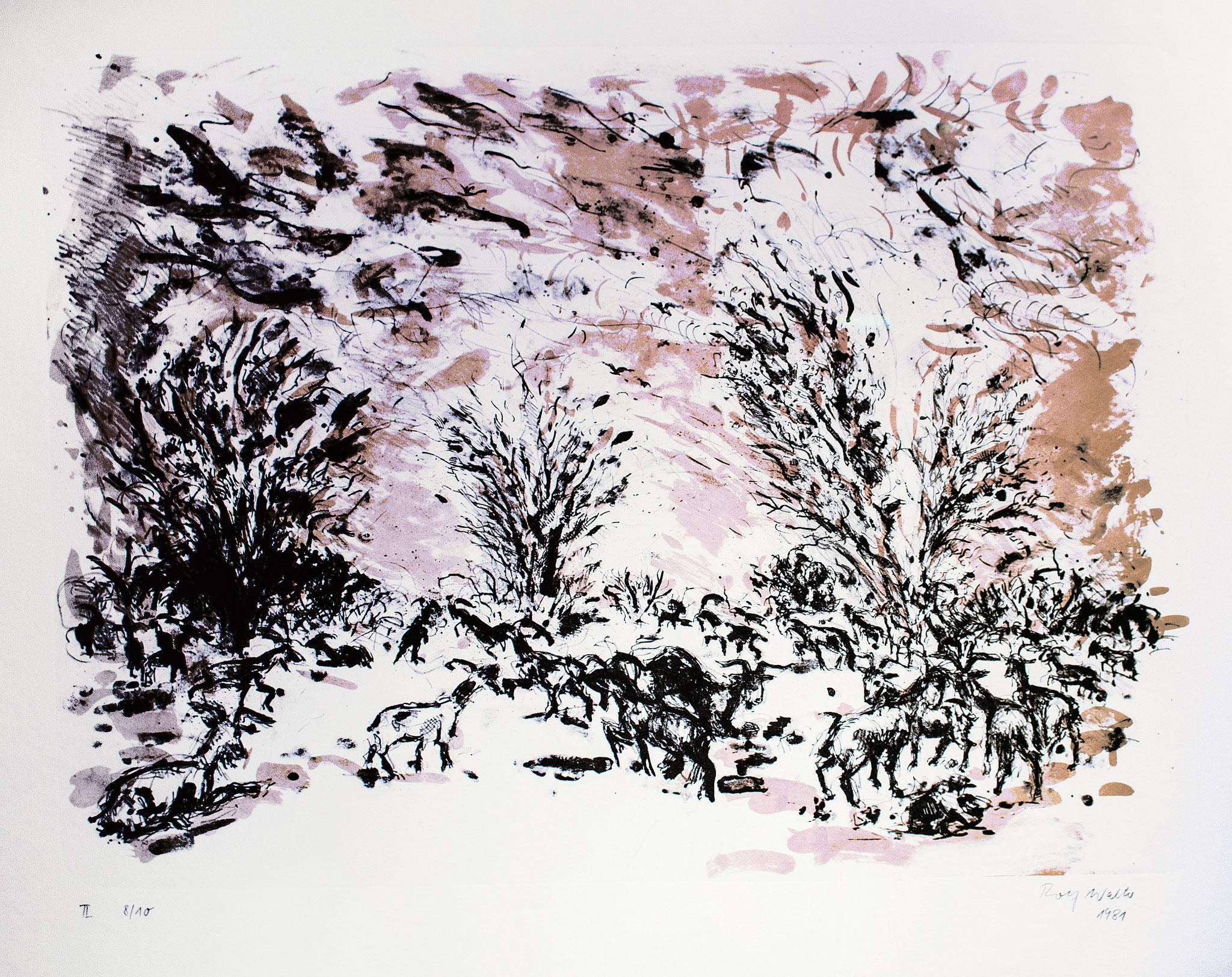 Ziegen; 1981, Lithographie, 2 farbig, 48,5cm x 64,5 cm