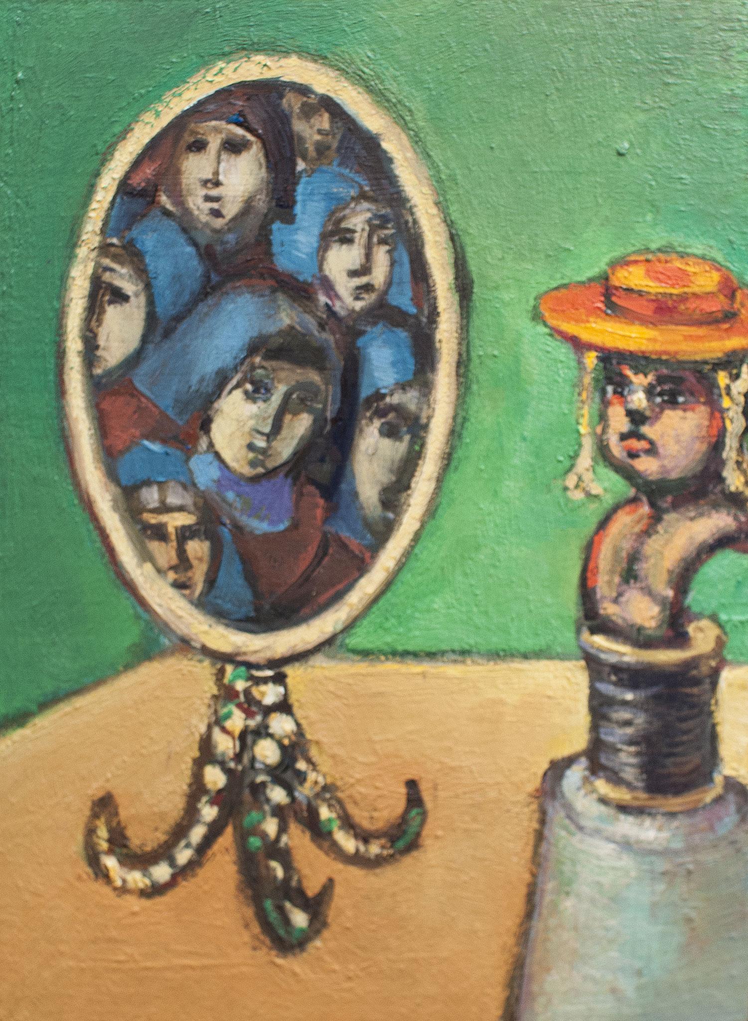 Im Spiegel; Öl auf Holz, 25cm x 18cm