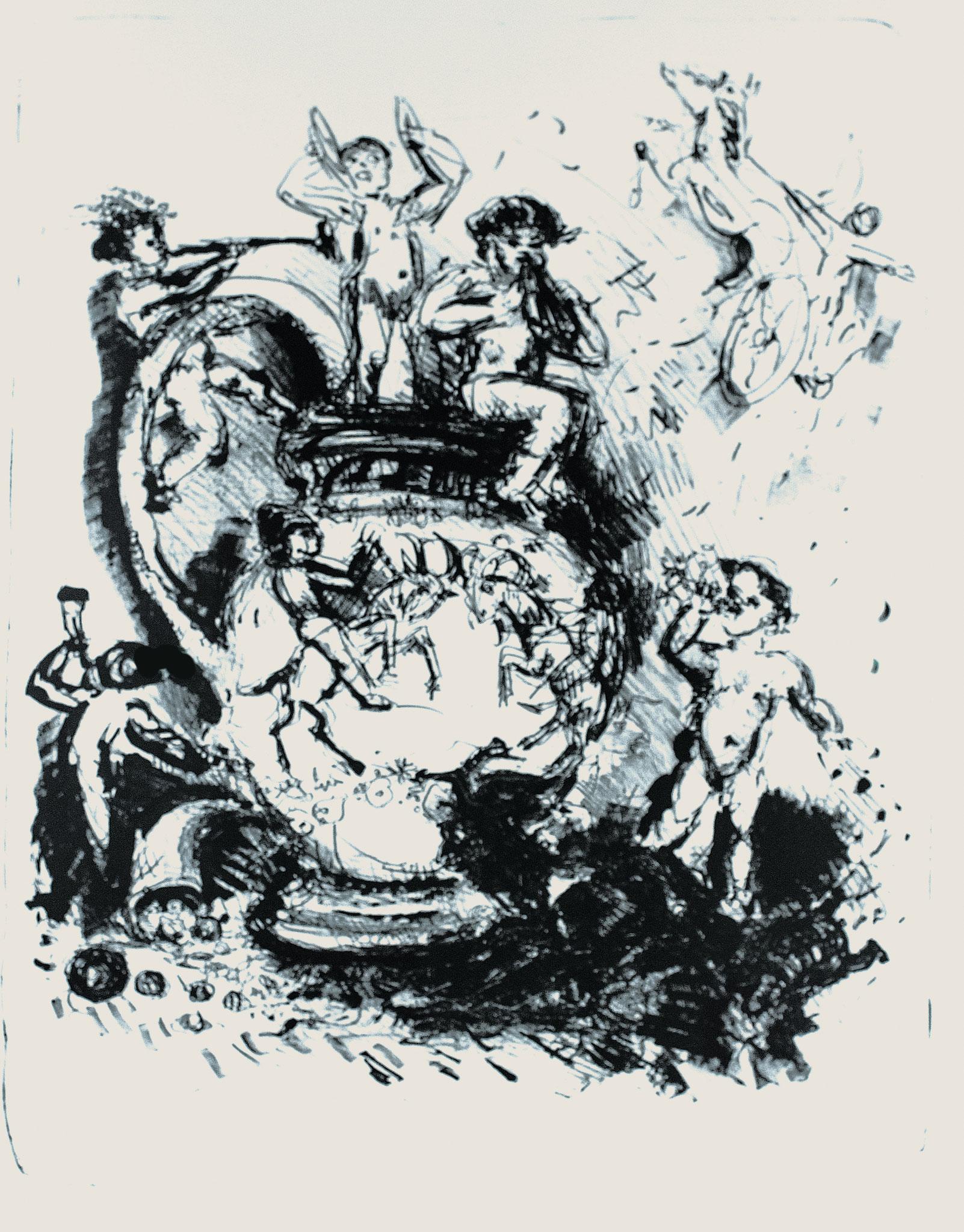 Reiche Putten; 1983, Lithographie, 46cm x 38 cm
