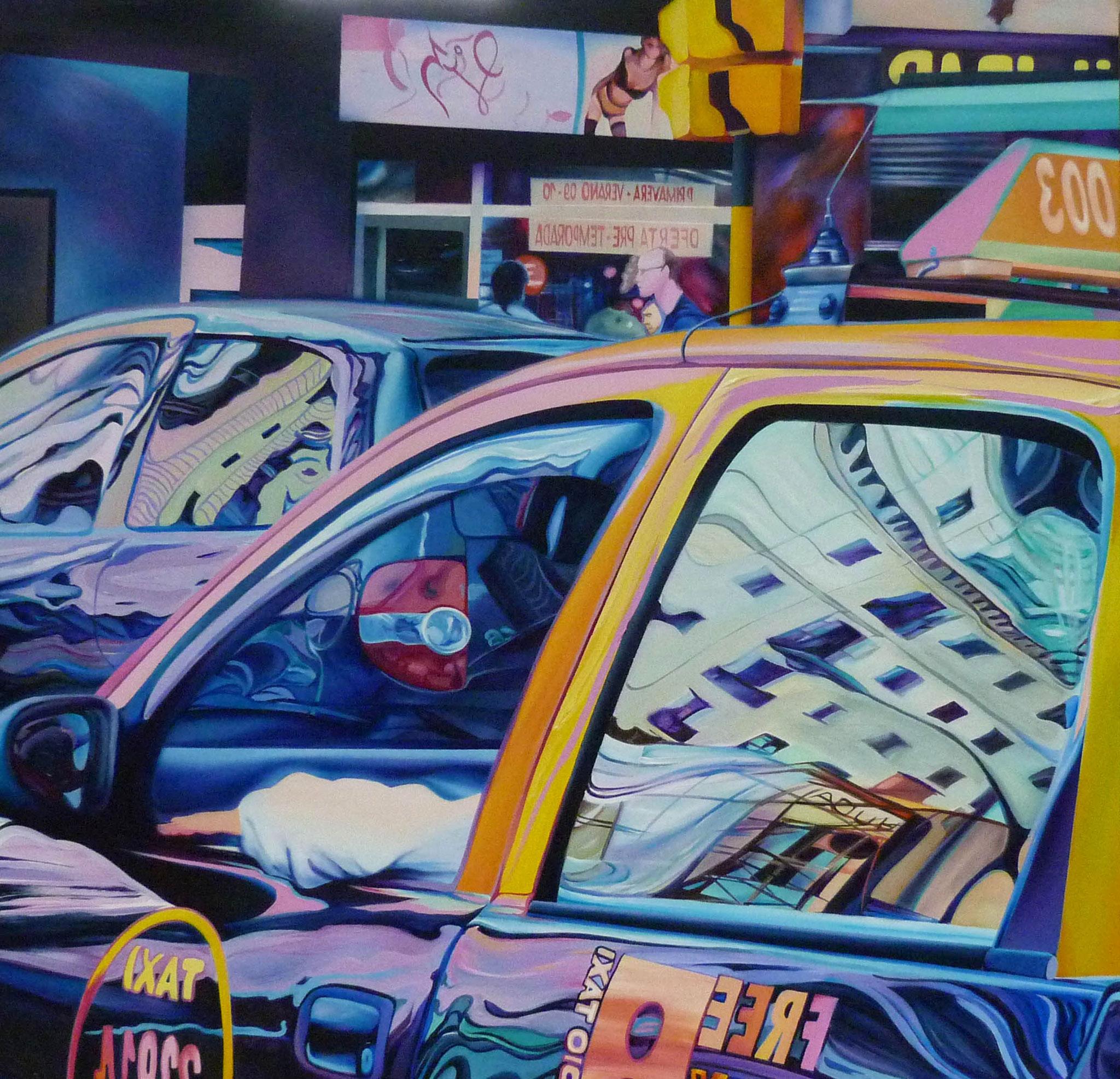 Taxi 130 cm x 130 cm Acryl auf Leinwand 2003