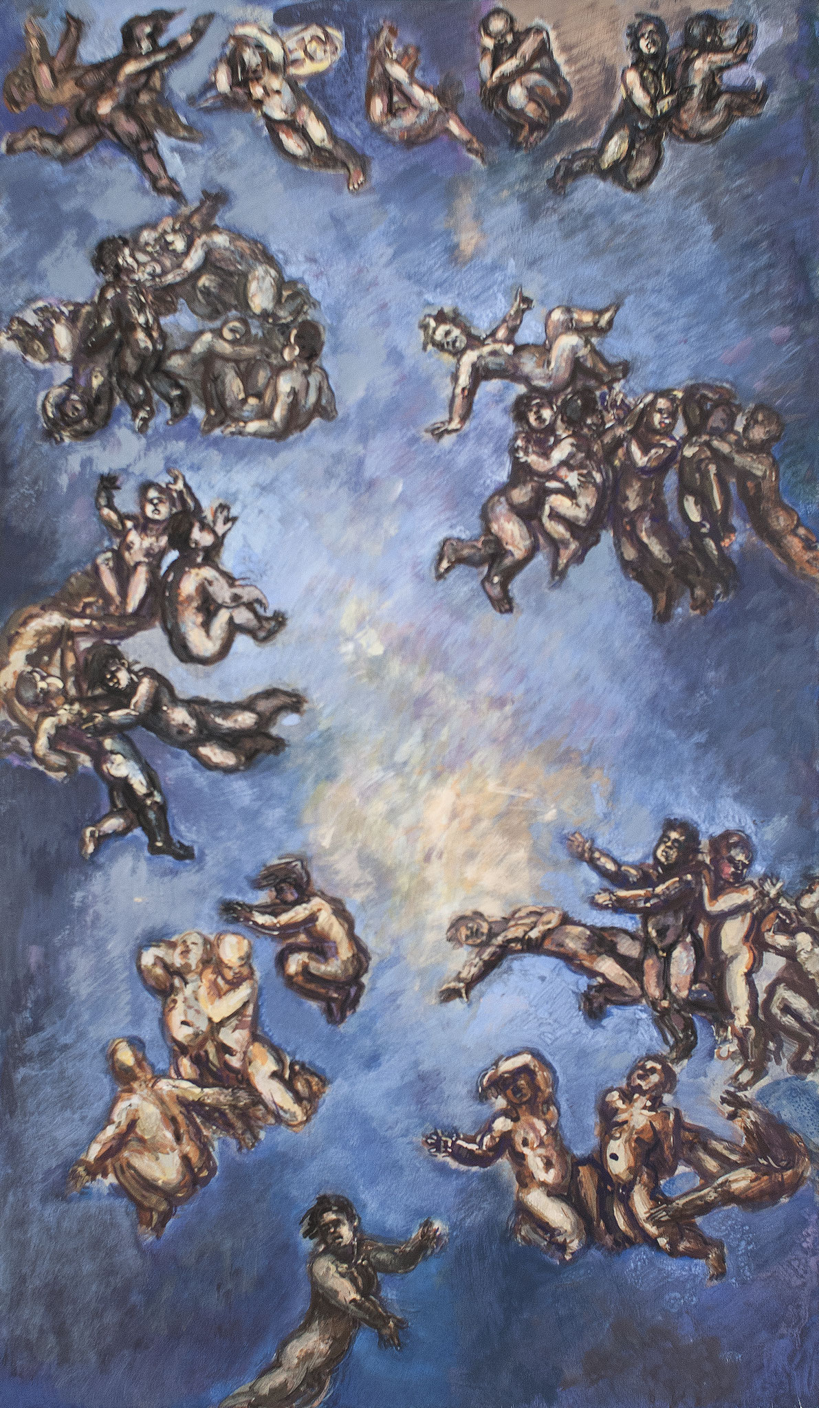 Entwurf des großen Bildes, 1993, Acryl u. Öl auf Speerholz, 88cm x 51cm