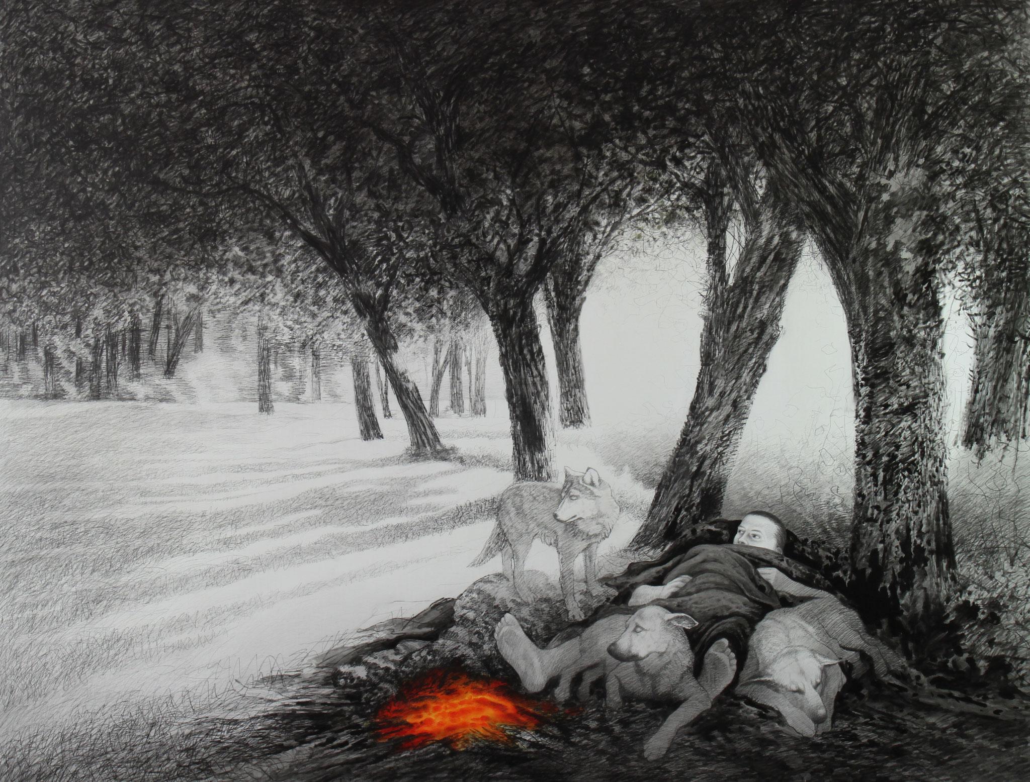 Weiße Nacht, 2016, Bleistift & Öl auf Leinwand, 240cm x 190cm