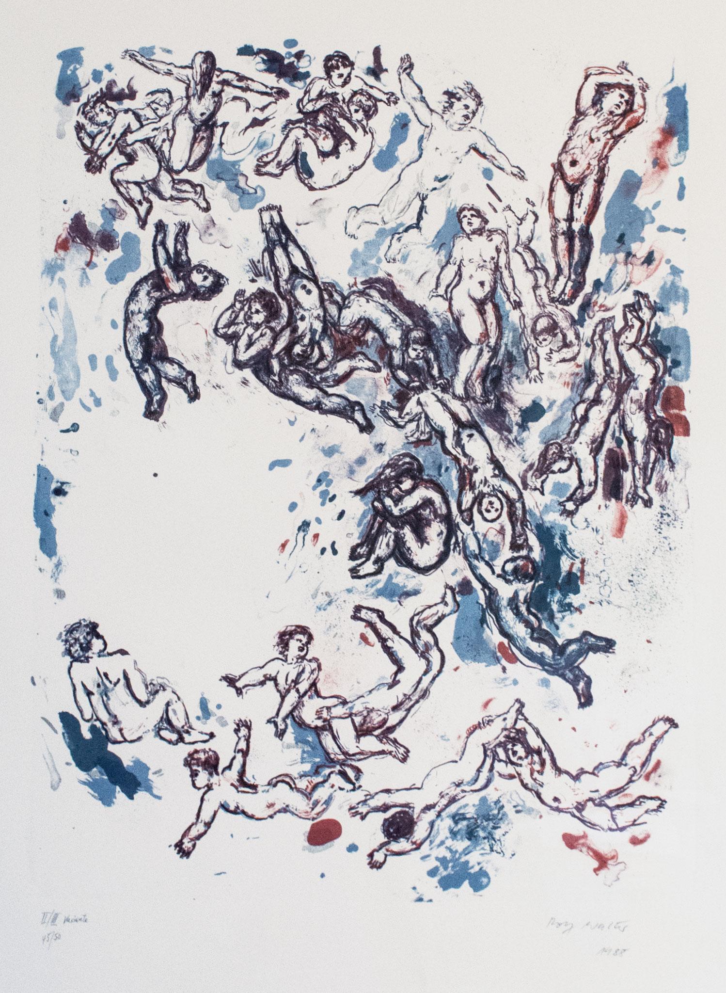 o.T.; 1985, Lithographie, 5 farbig, 60cm x 45 cm