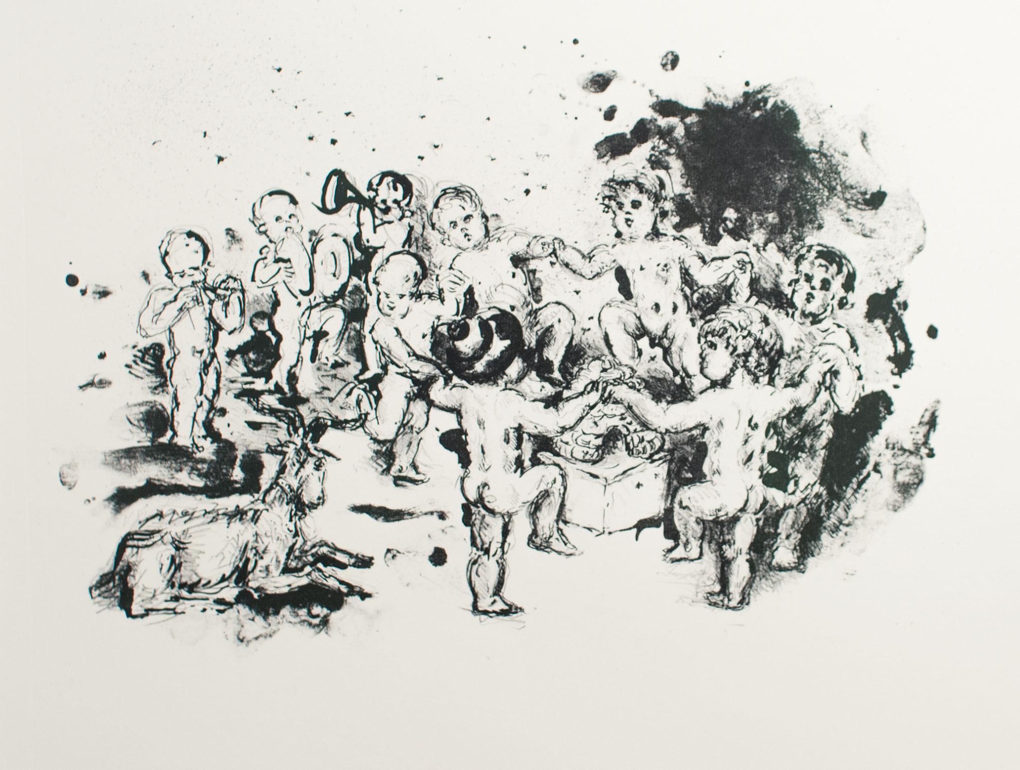 Tanz um den Bienenkorb, 1981, Lithographie, 38cm x 49cm