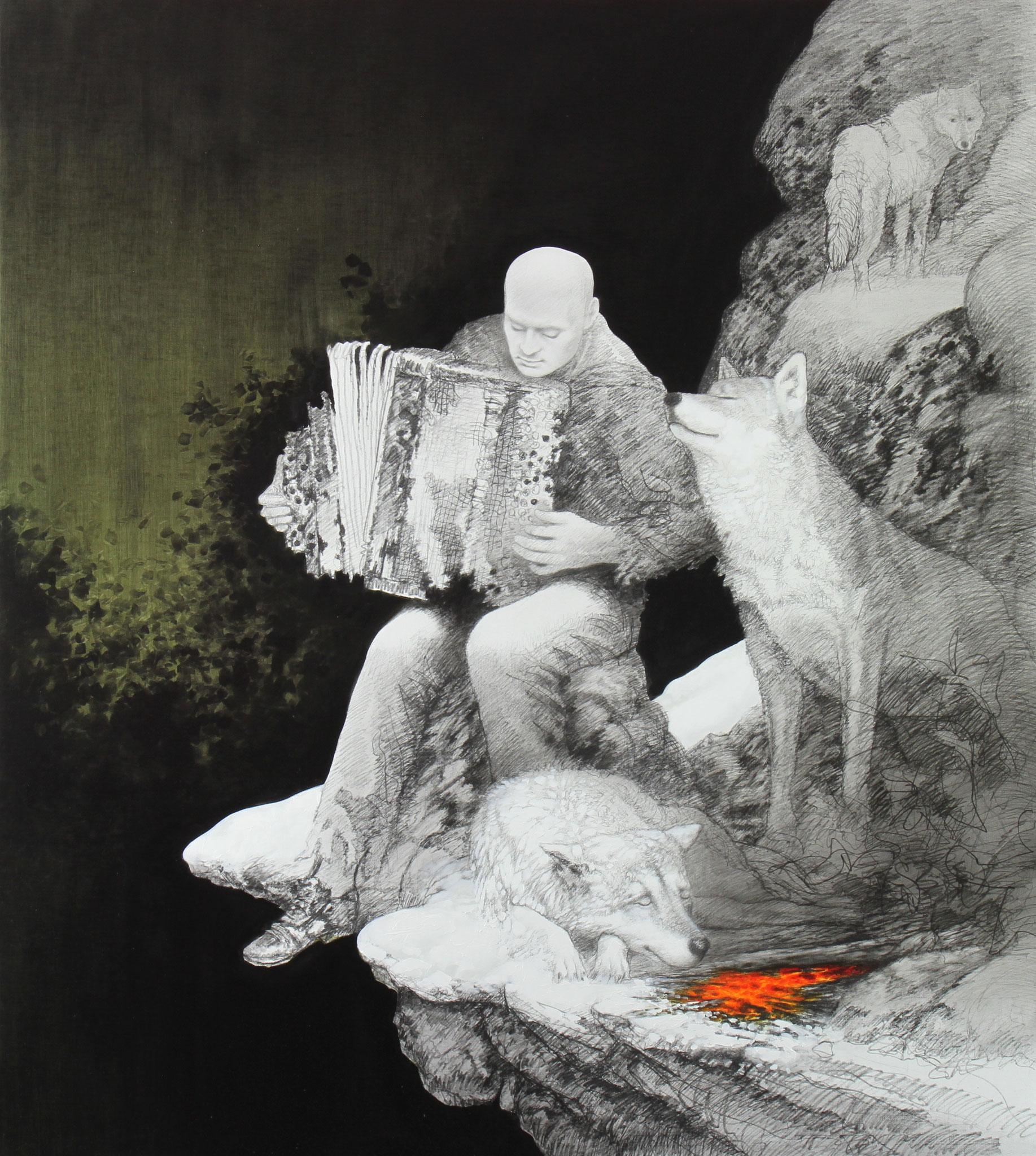 Fuge, 2016, Bleistift & Öl auf Leinwand, 190cm x 170cm
