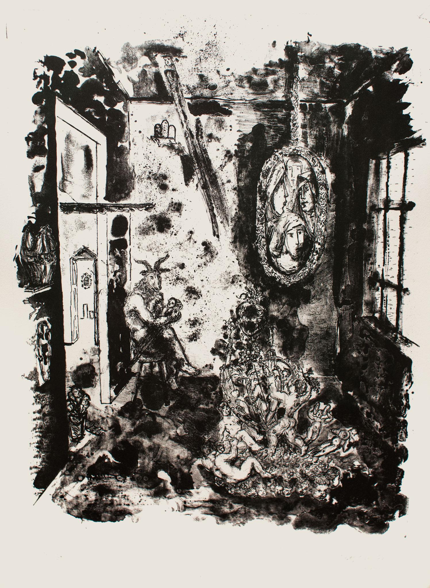 Behütet, 1990, Lithographie, 63cm x 46cm