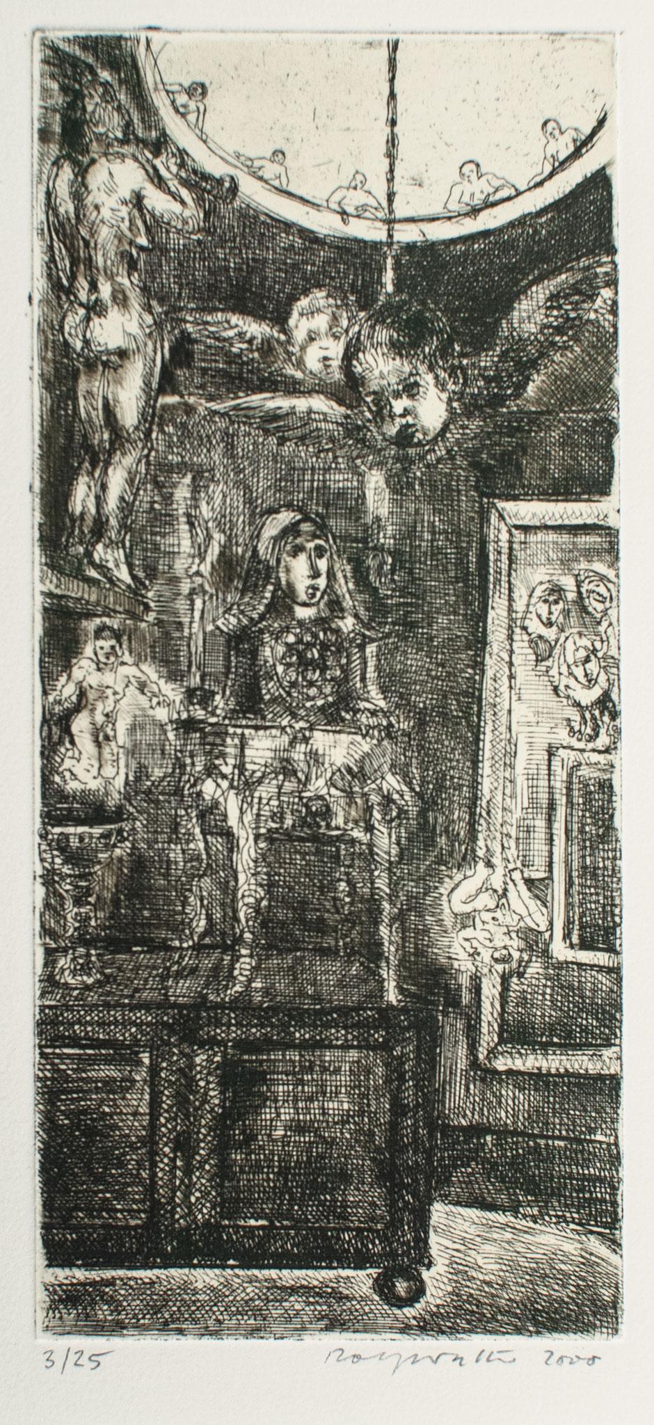 Absturz; 2000, Radierung, 19cm x 8cm