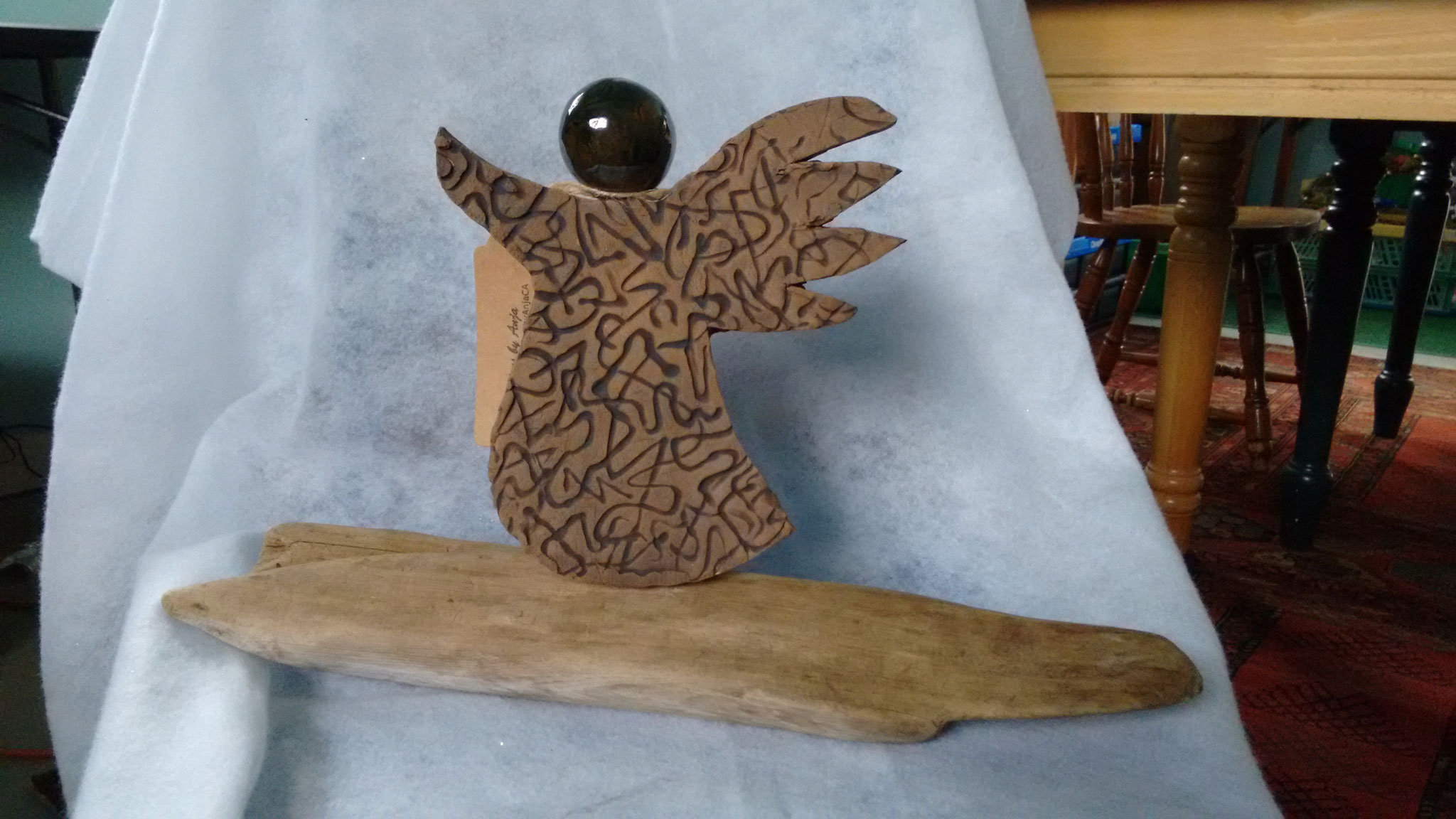 SOLD. Rustic Angel on Driftwood, Price $ 40.00