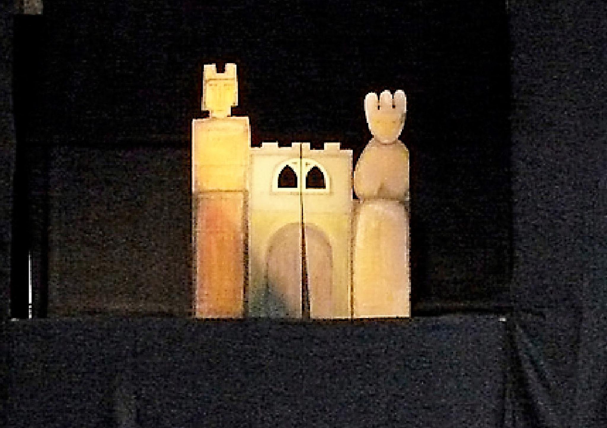 Das Eselein, erste Szene: Ein Königspaar hatte alles was es wollte, nur keine Kinder.