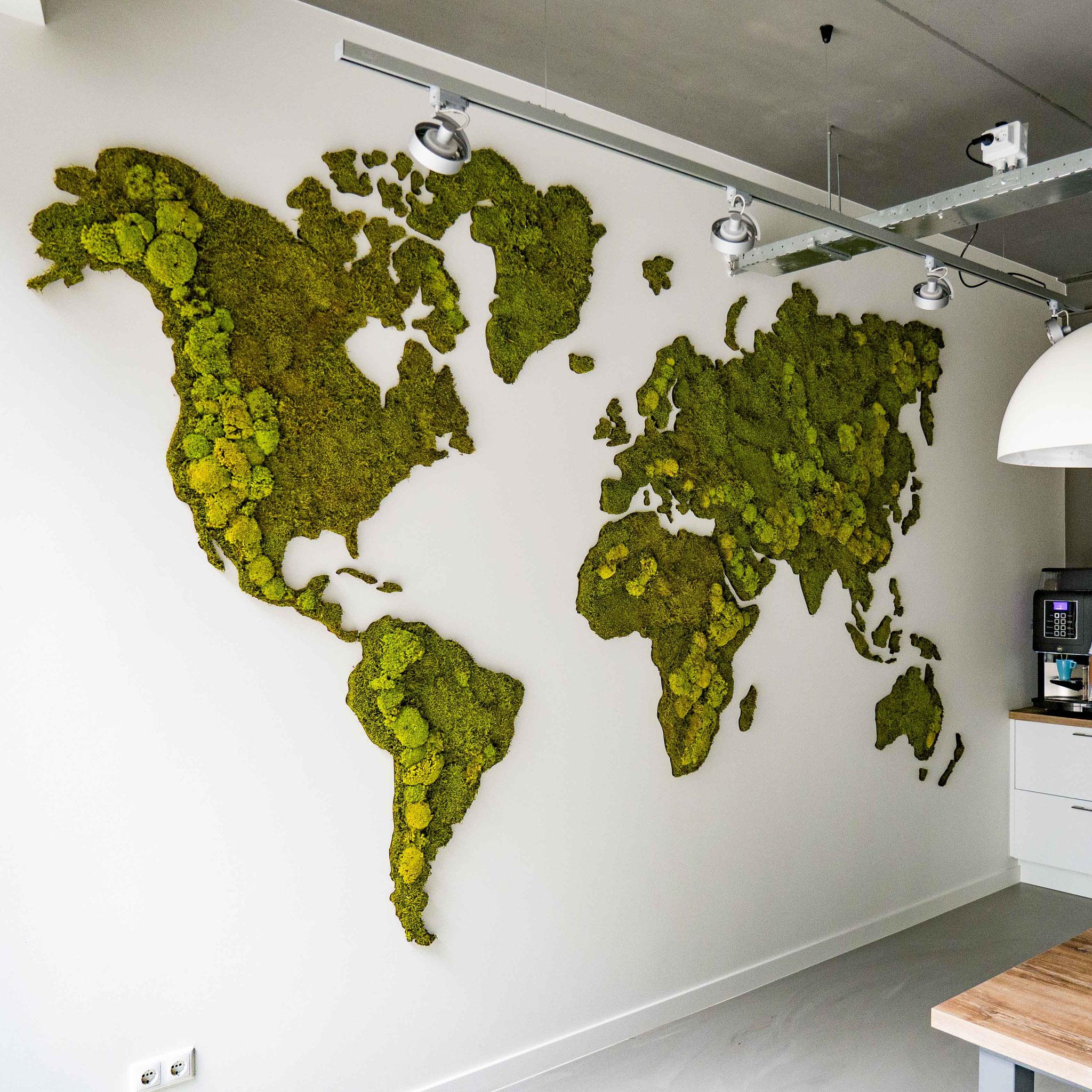 Wereldkaart van mos in verschillende maten
