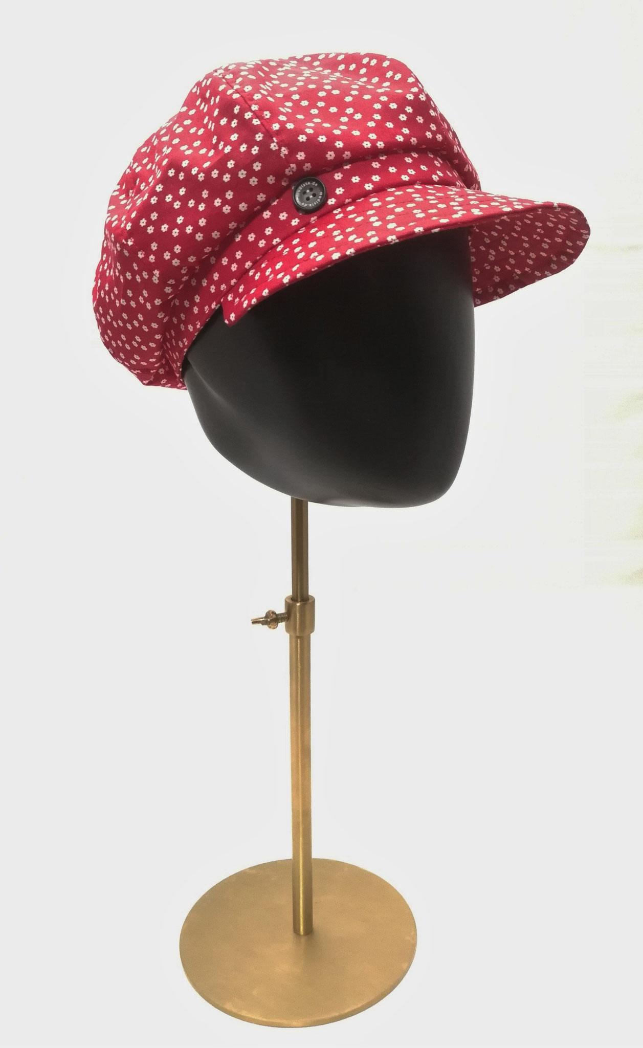 Ballonmütze reine Baumwolle, rot mit Blümchen, Manufakturarbeit,  bestellbar Preis 49,90 €