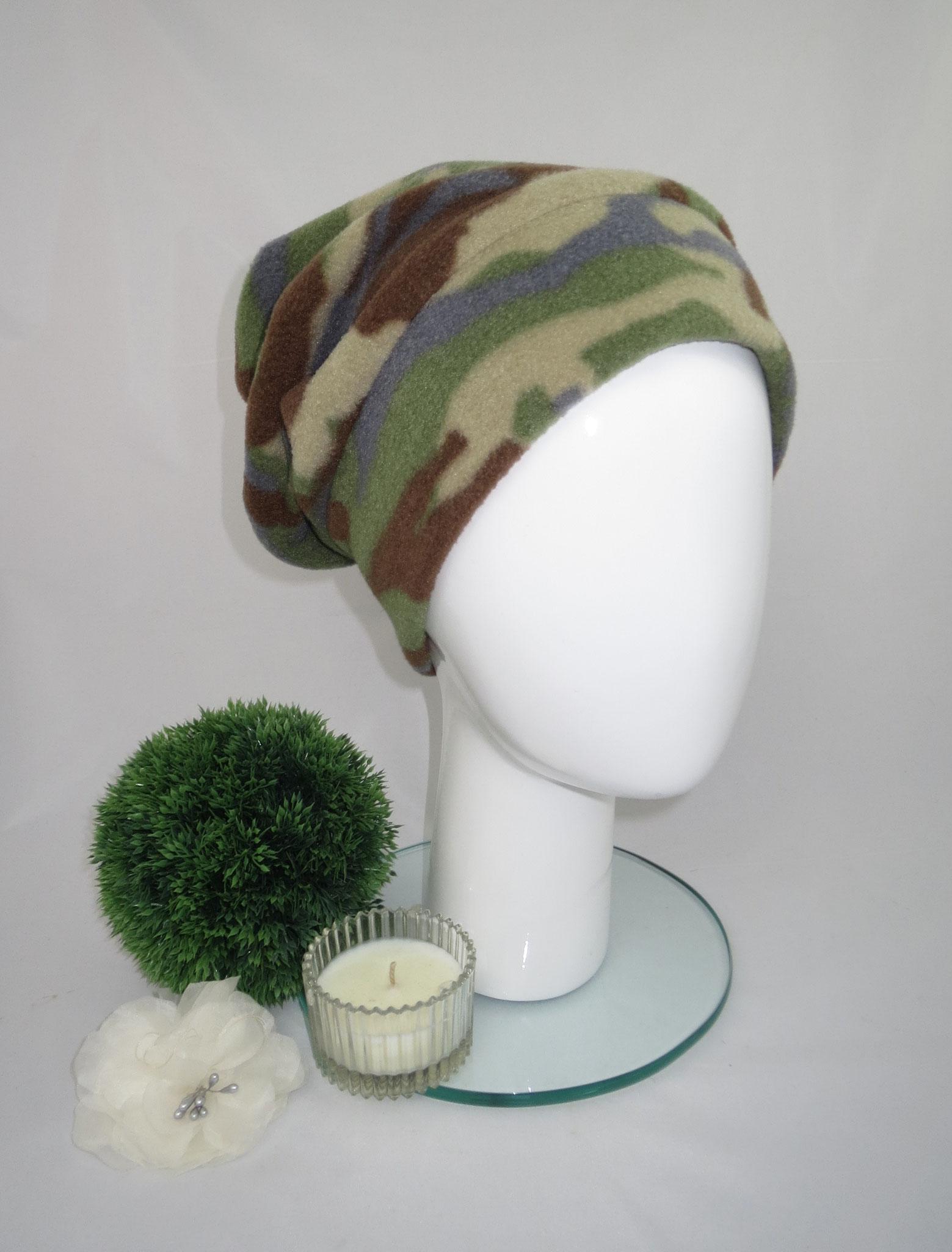 Fleecebeanie Camouflage, Innenfutter Viskose Elastan, in jeder Kopfgröße herstellbar, Preis: 44,90 € - bestellbar