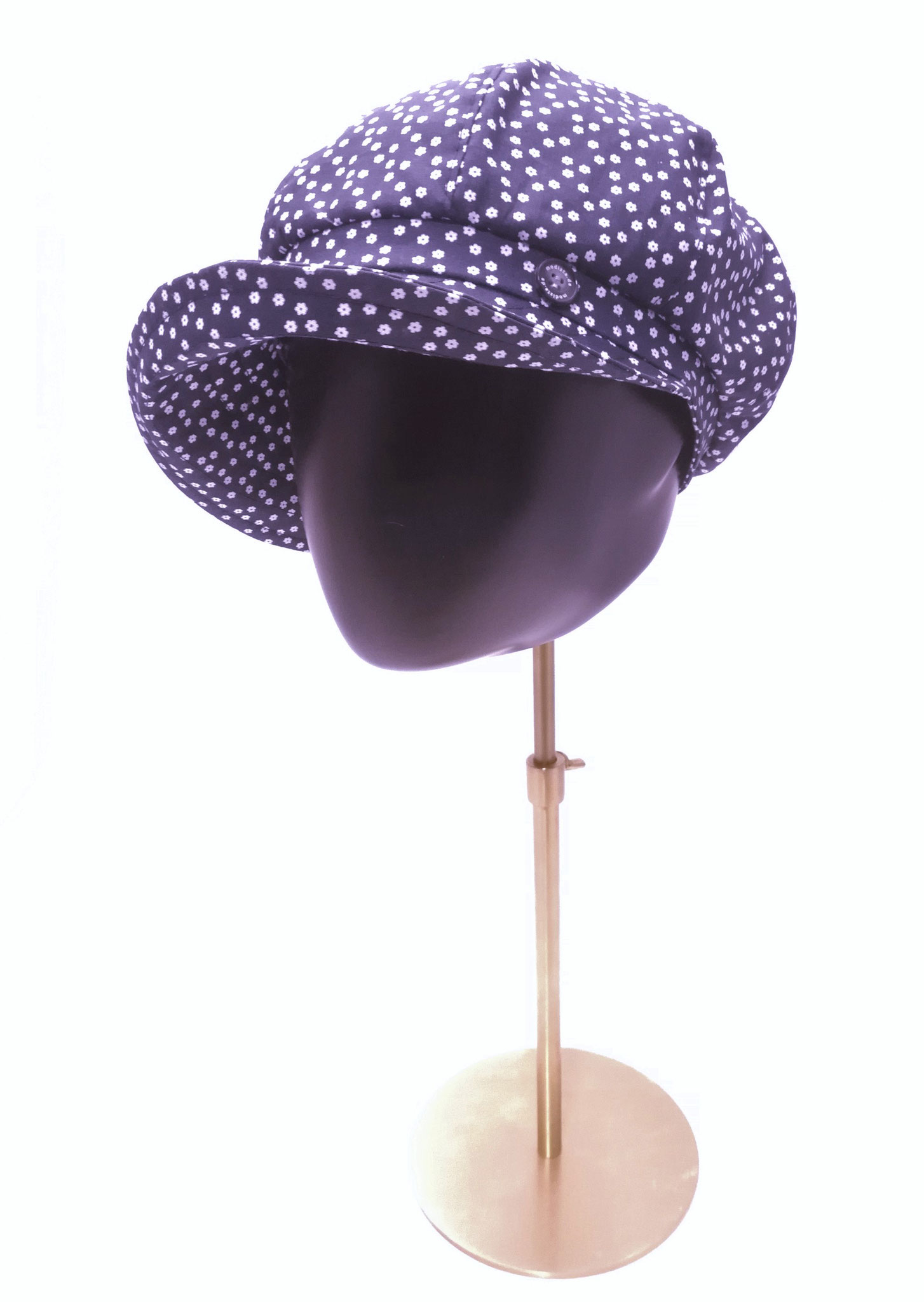 Ballonmütze reine Baumwolle, dunkelblau mit Blümchen, Aufschlagrand, Manufakturarbeit,  bestellbar Preis 49,90 €
