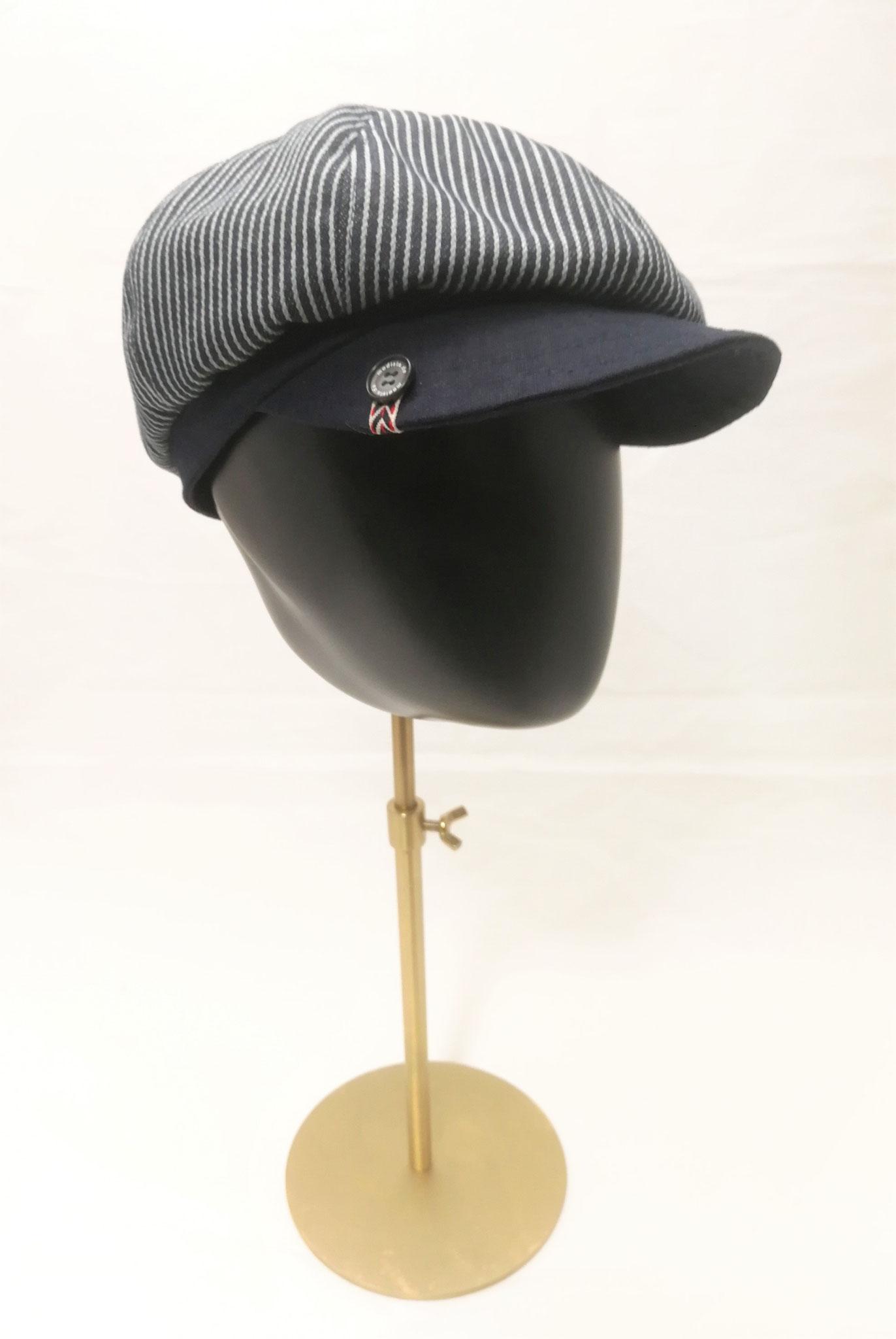 Newsboy Cap, Materialmix aus Jeans und Leinen,  Manufakturarbeit, bestellbar Preis 69,90 €