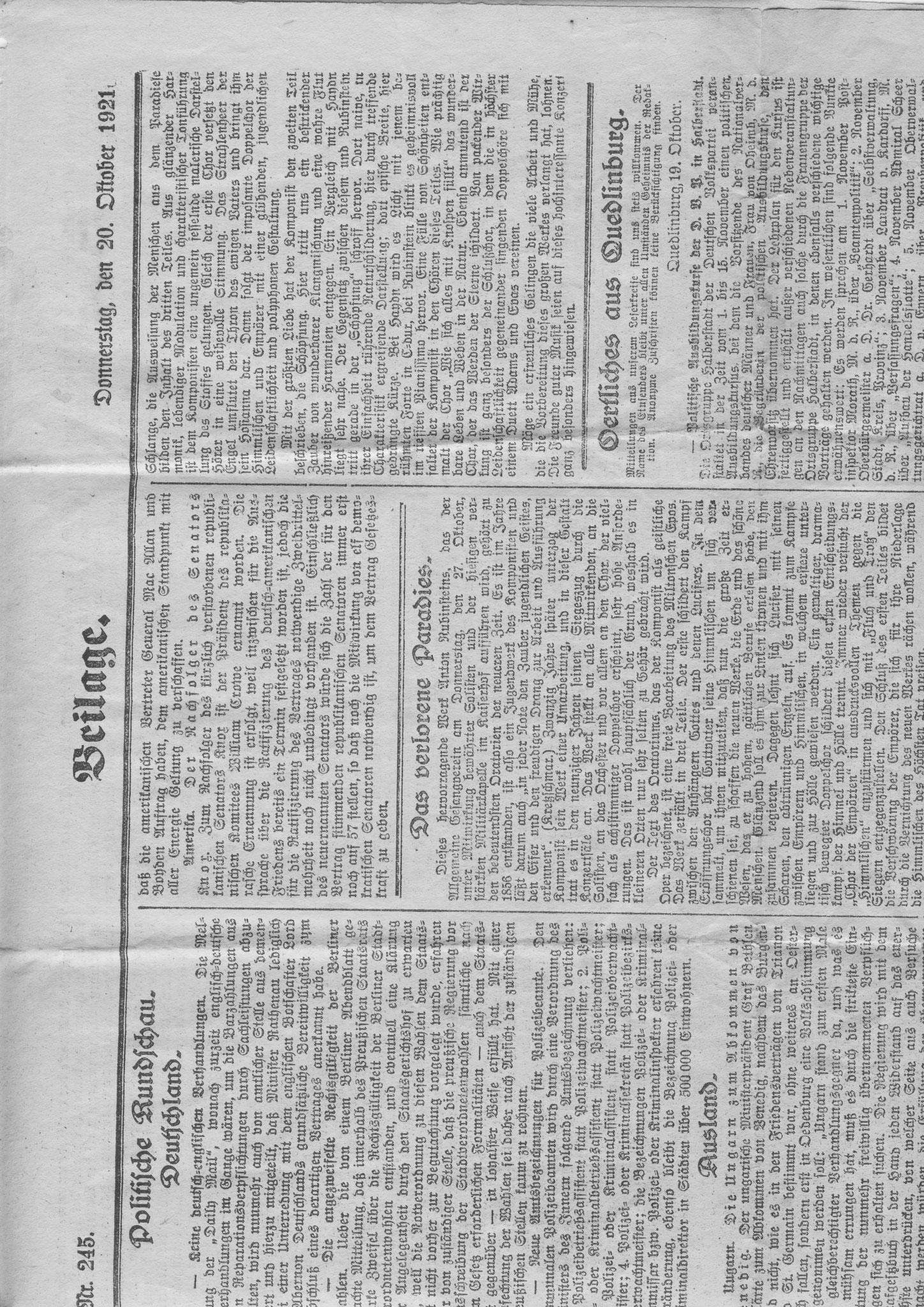 Ein Artikel der damaligen Zeitung