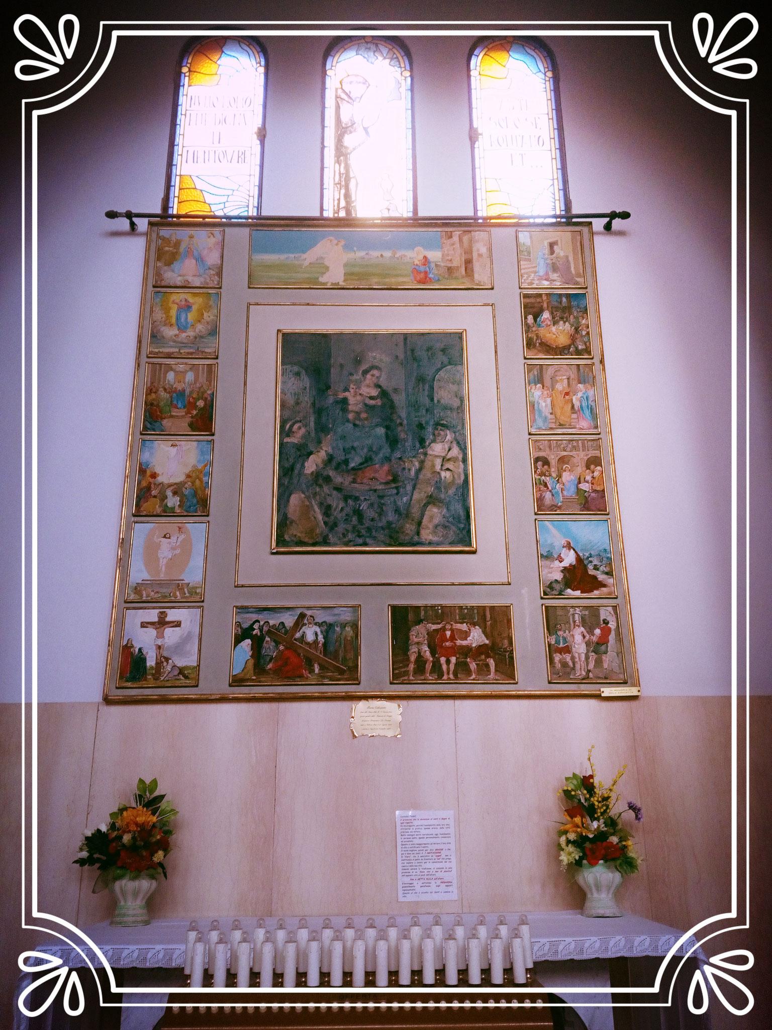 Rappresentazione della Beata Vergine del rosario di Pompei con varie scene