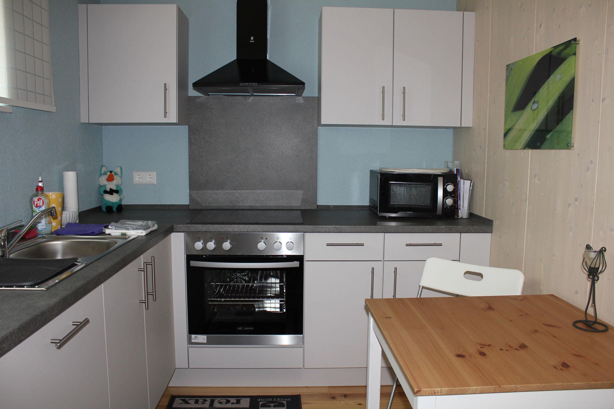 Küche mit Herd, Microwelle, üppige Ausstattung mit Küchenzubehör/ Kitchen with stove, microwave, generous equipment with kitchen accessories