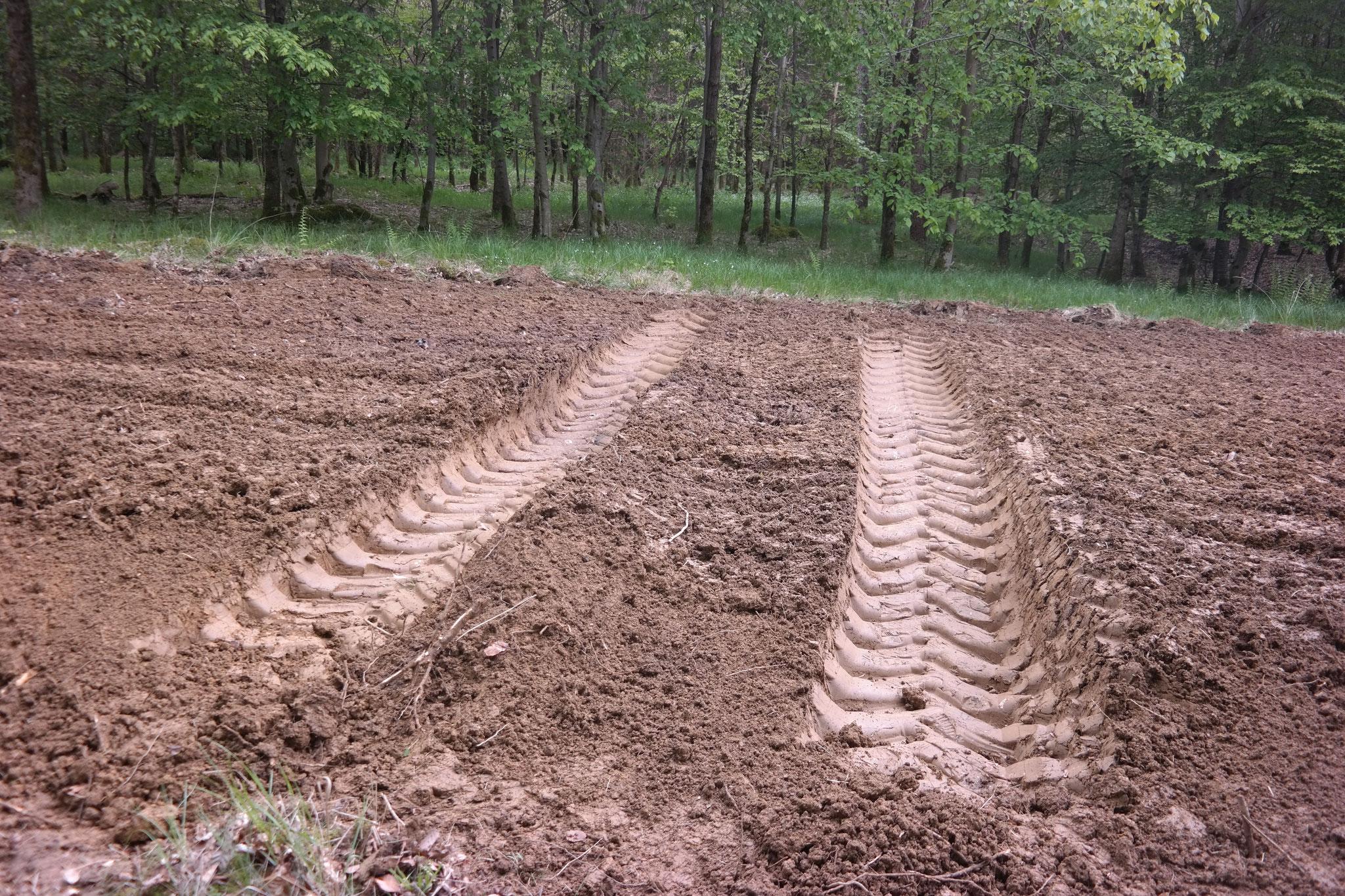 Bei guter Bodenfeuchtigkeit entstehen ausreichend tiefe Fahrspuren...