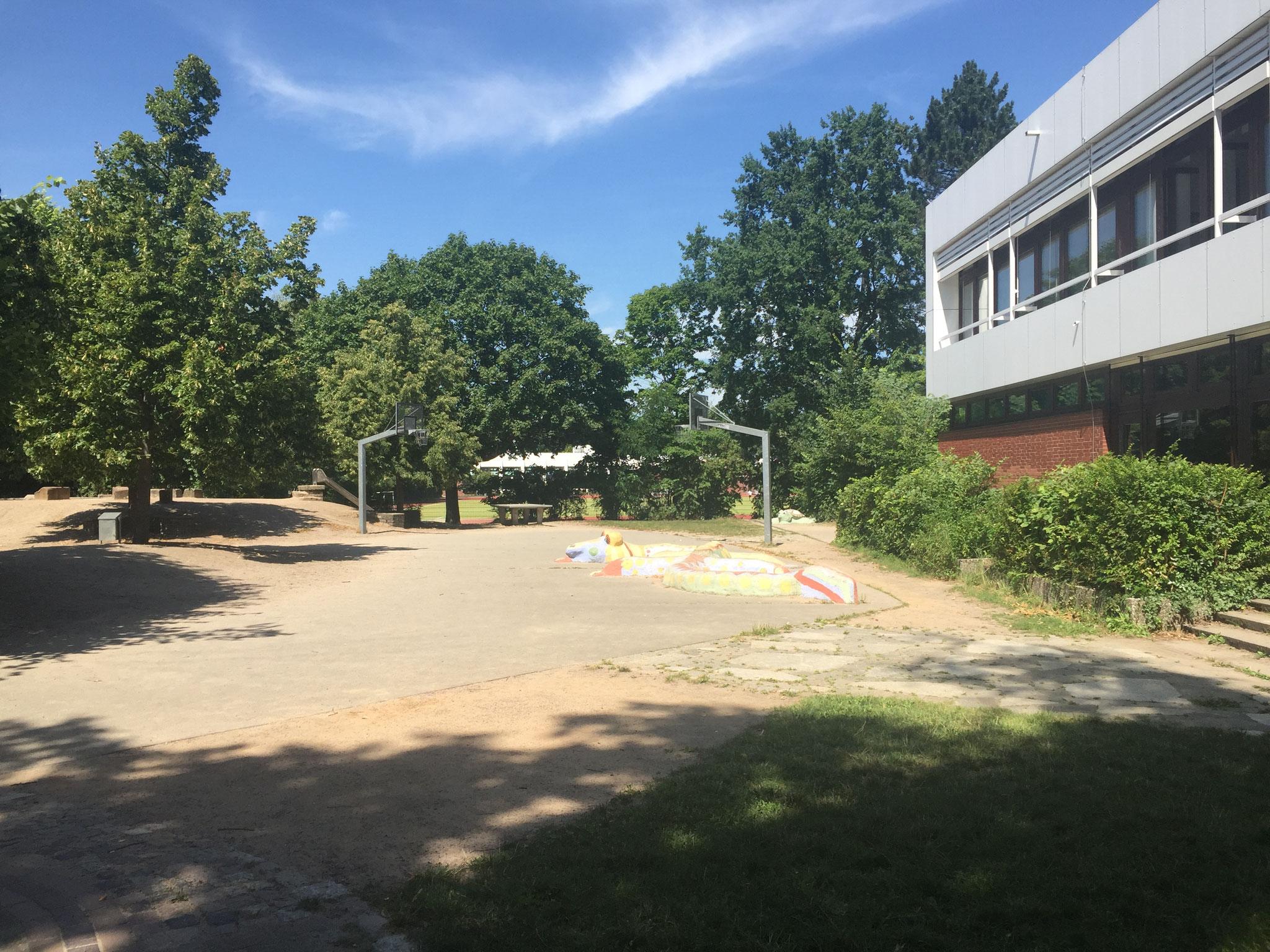 Ganz da hinten sieht man unseren Basketballplatz und Tischtennisplatten.