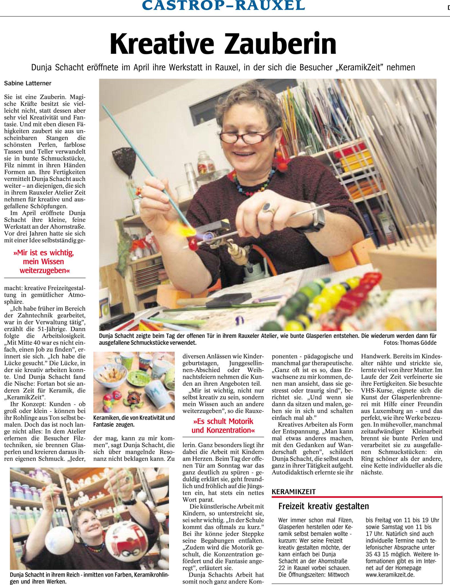 Neueröffnung der KeramikZeit in Castrop-Rauxel. (Quelle: WAZ vom 24.11.2009)