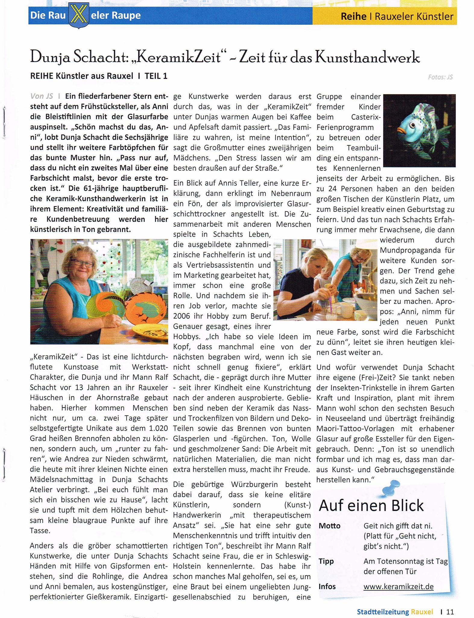 """Künstlerportrait Dunja Schacht / Keramikzeit in der Erstausgabe der Stadtteilzeitung """"Die Rauxeler Raupe"""" vom Oktober 2019 (Quelle)"""