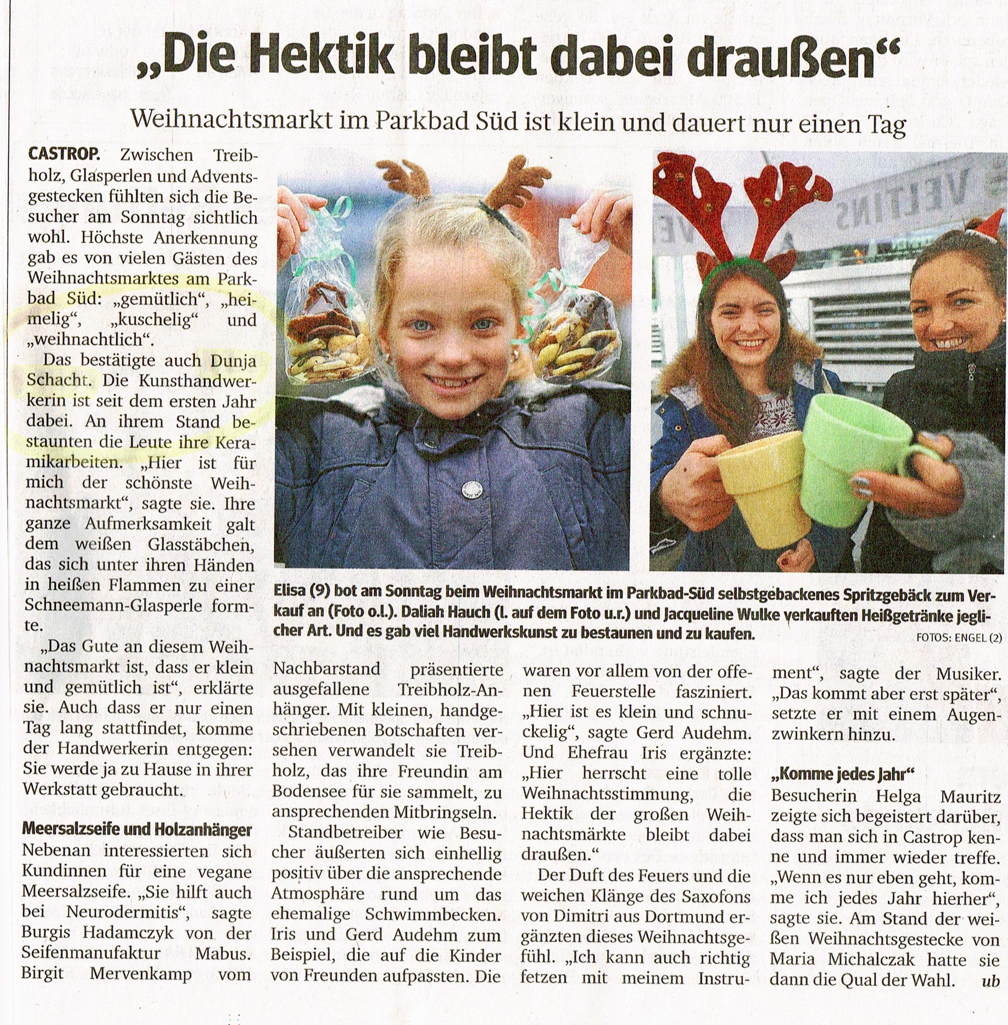 Die Keramikzeit beim Adventsmarkt im Parkbad Süd Castrop-Rauxel - Bericht (Quelle: WAZ vom 13.12.2016)