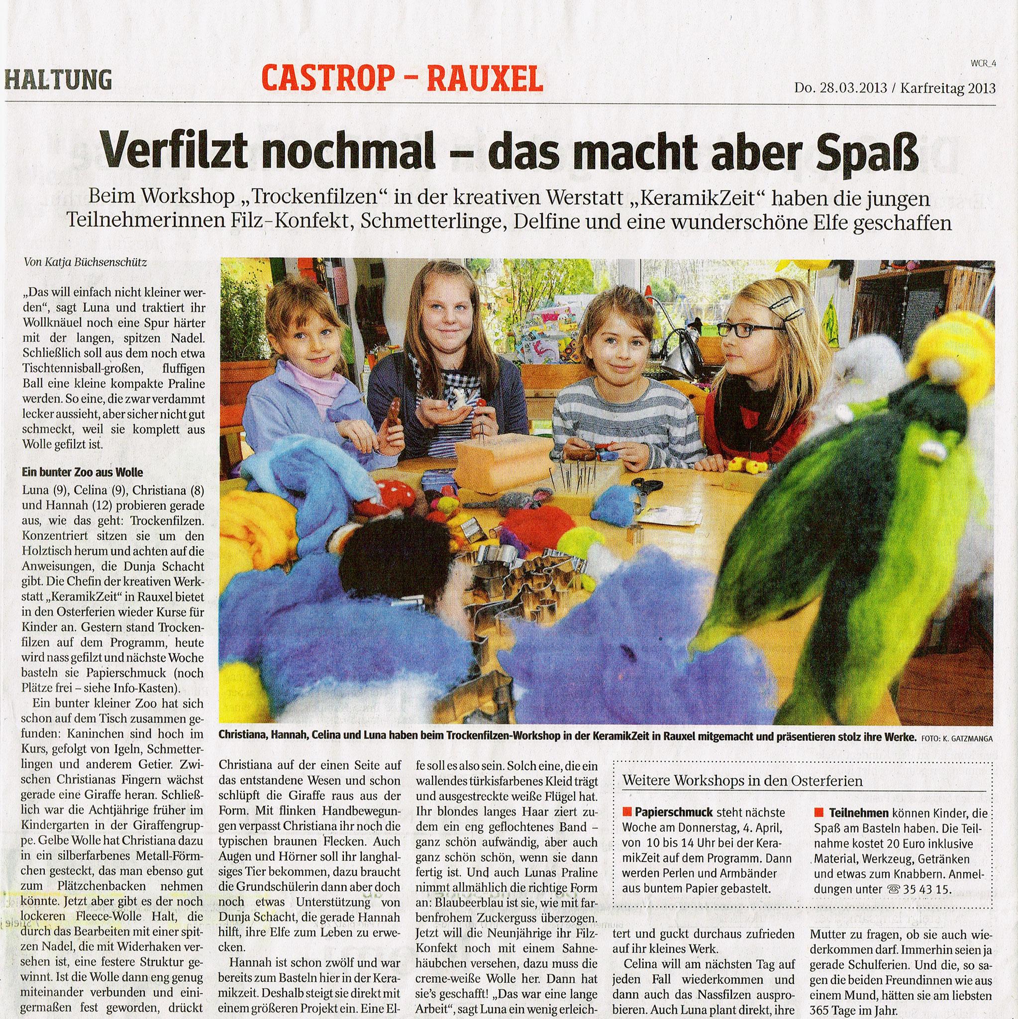 Osterfrienprogramm 2013 in der KeramikZeit. (Quelle: WAZ vom 28.03.2013)