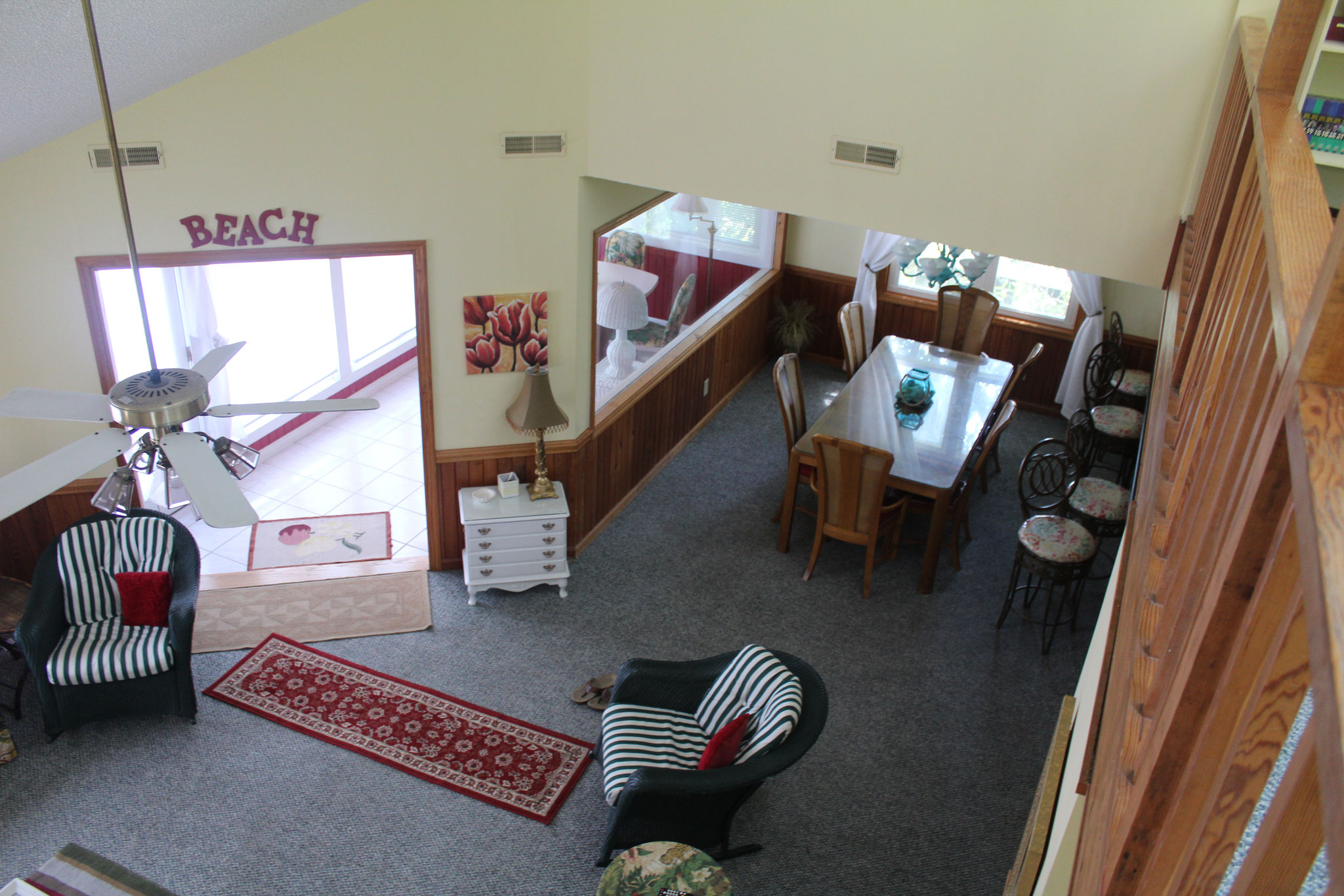 The den, sunroom, and dining area from above.