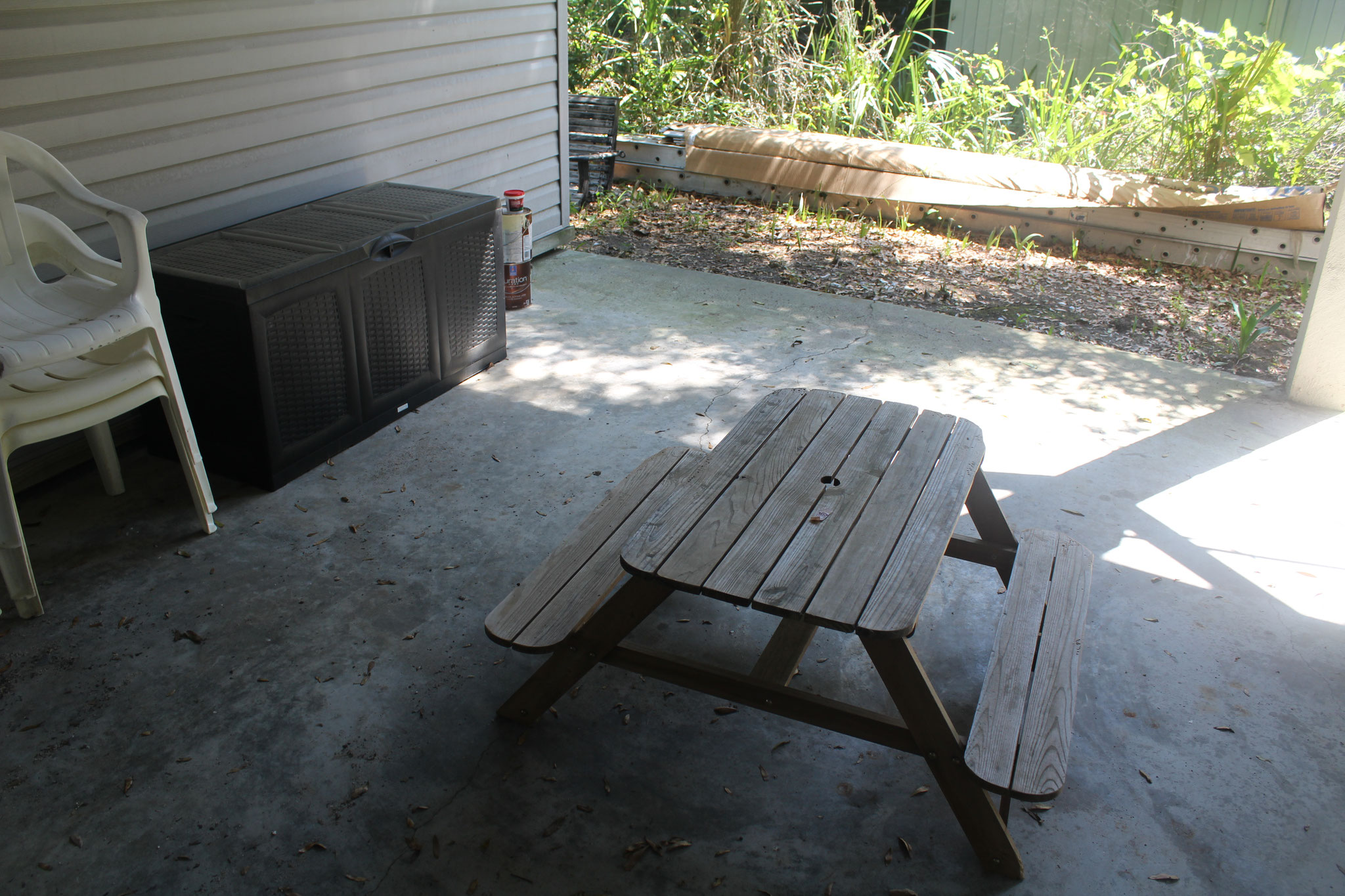 The kids' picnic table.