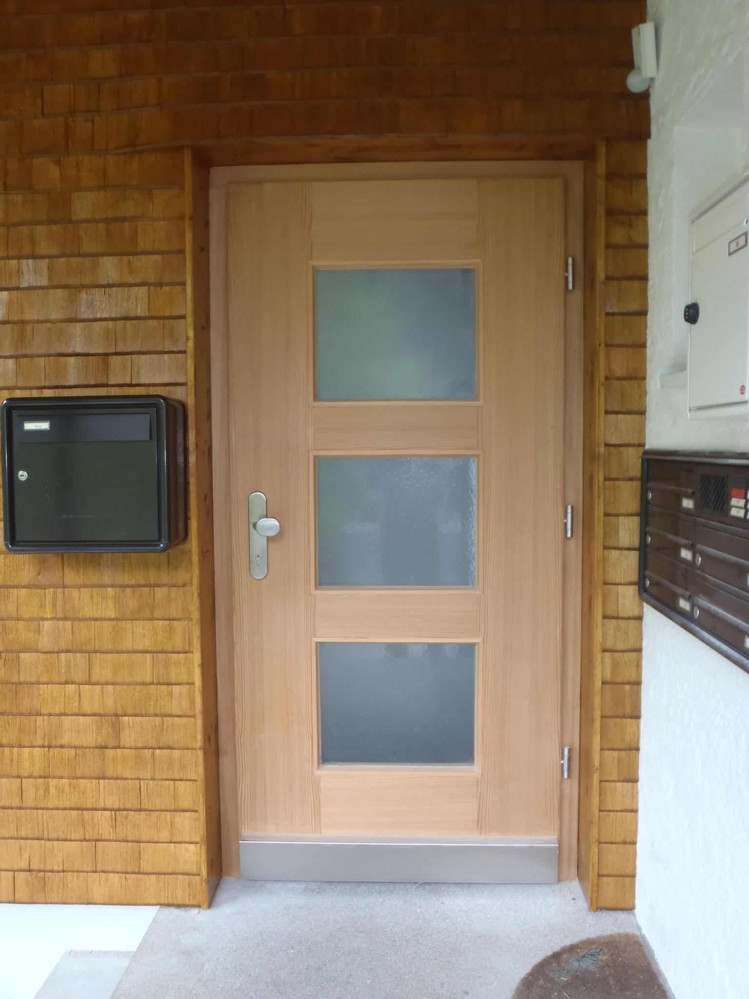 Haustüre mit Lichtausschnitt aus Lärche