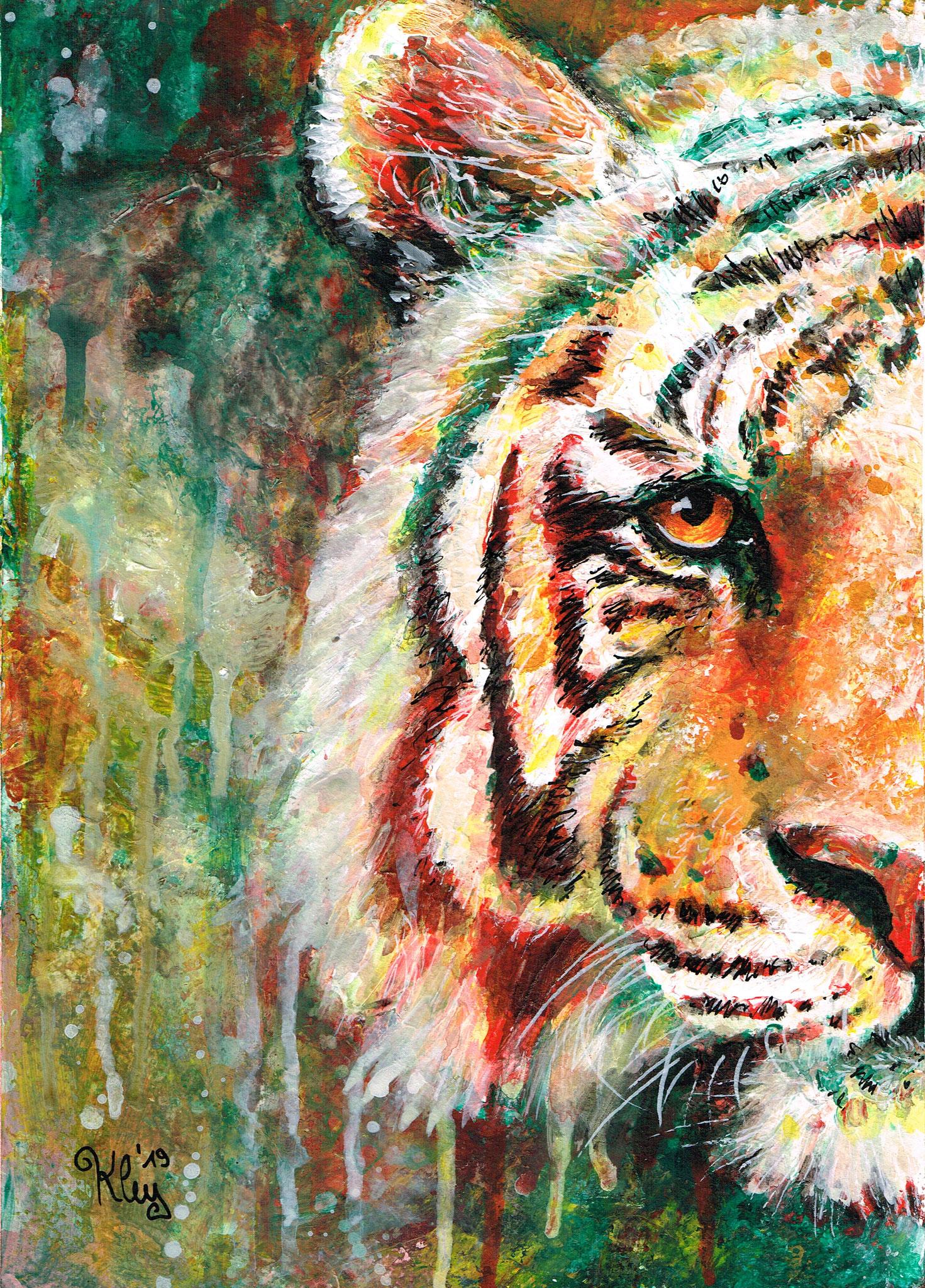"""Tiger"" Acryl auf Spezialpapier A4"